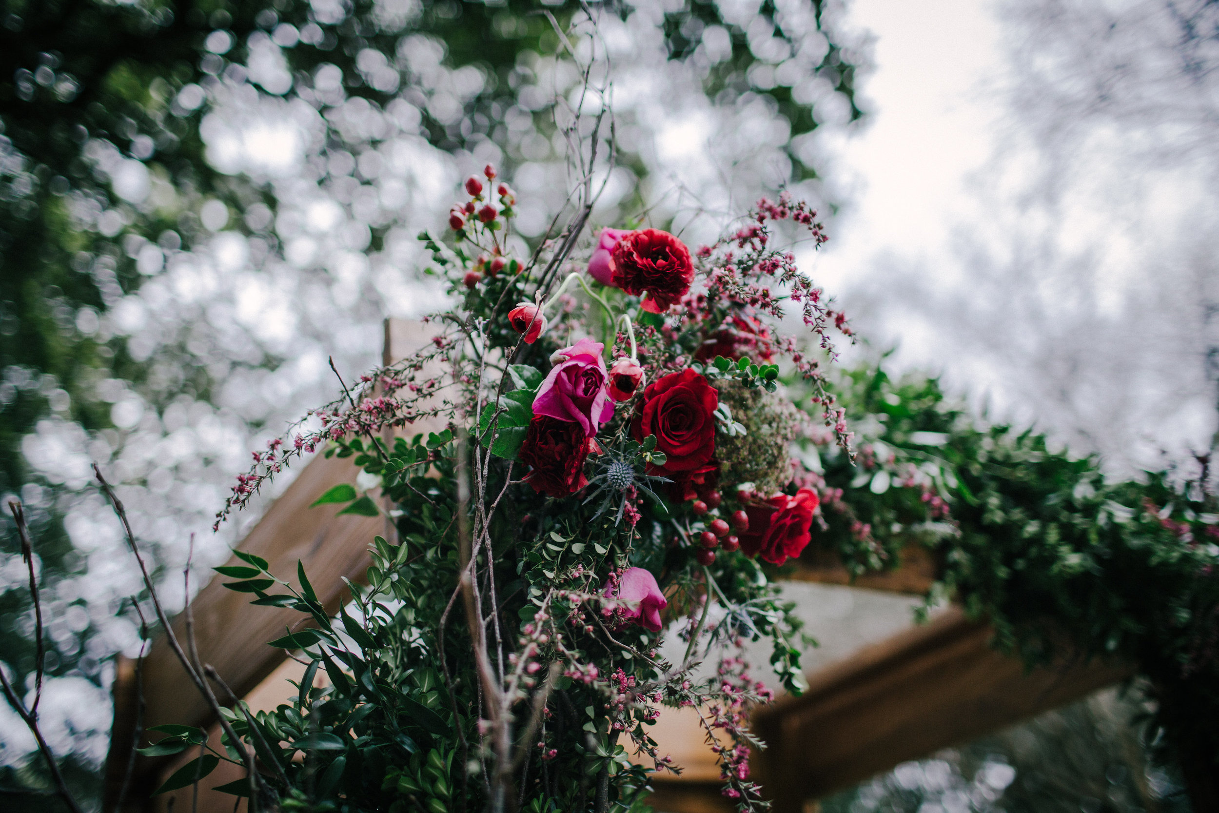 Southern Fete, Southern Wedding, Leona Sues, Red and Pink Flower Bouquet