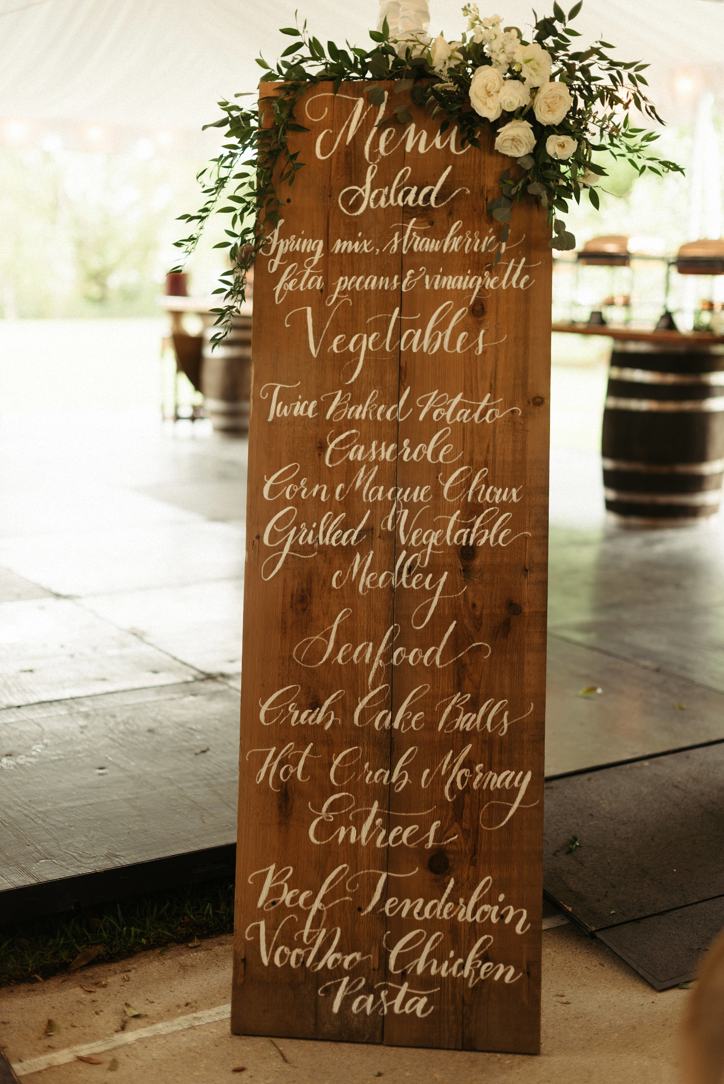 Southern Fete, Southern Wedding, Reception Menu, St. Blanc Calligraphy, Root Floral Design