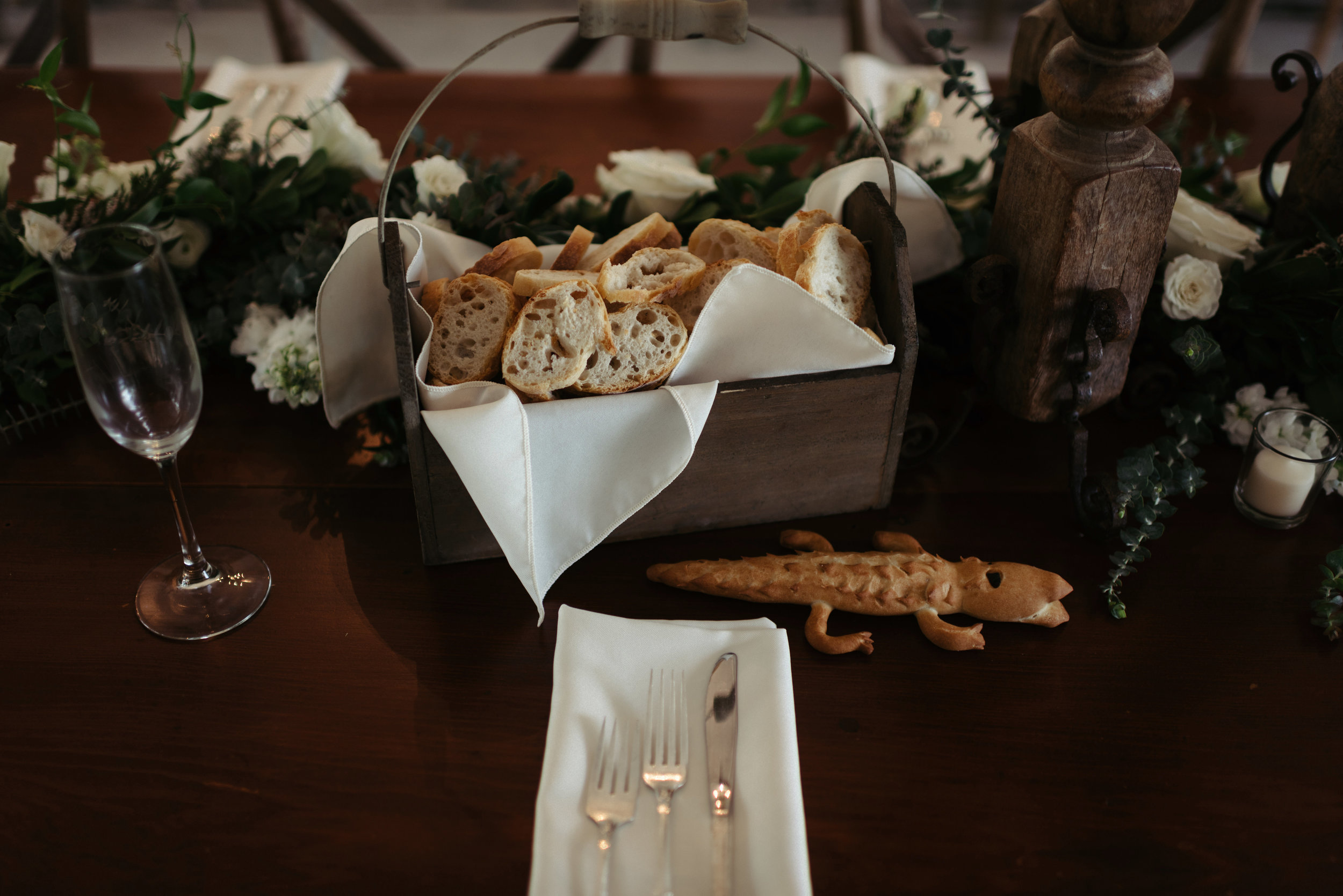 Southern Fete, Southern Wedding, Wedding Center Pieces, Bread Table, Erin and Geoffrey Photography