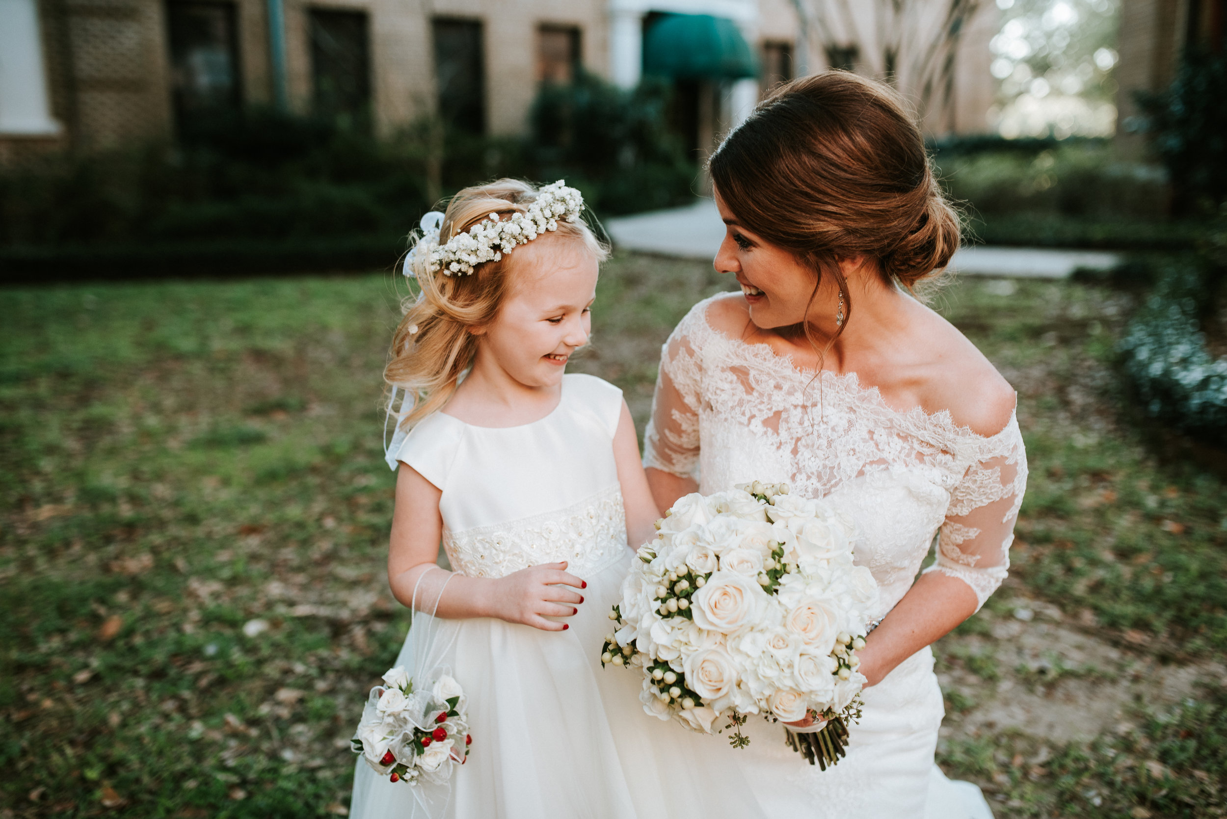 Southern Fete, Southern Wedding, Bride and Flower girl