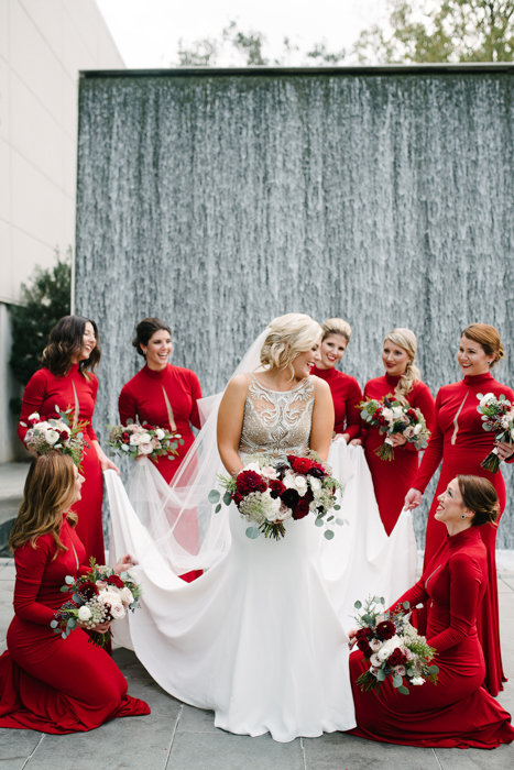 Southern Fete, Southern Wedding, Christmas Wedding, Bridal Party, Paul and Lulu Hilliard Art Museum