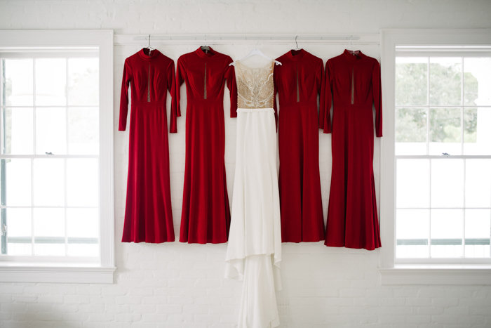 Southern Fete, Southern Wedding, Red Bridesmaid dresses, Wedding Dress, Bridal Party dresses