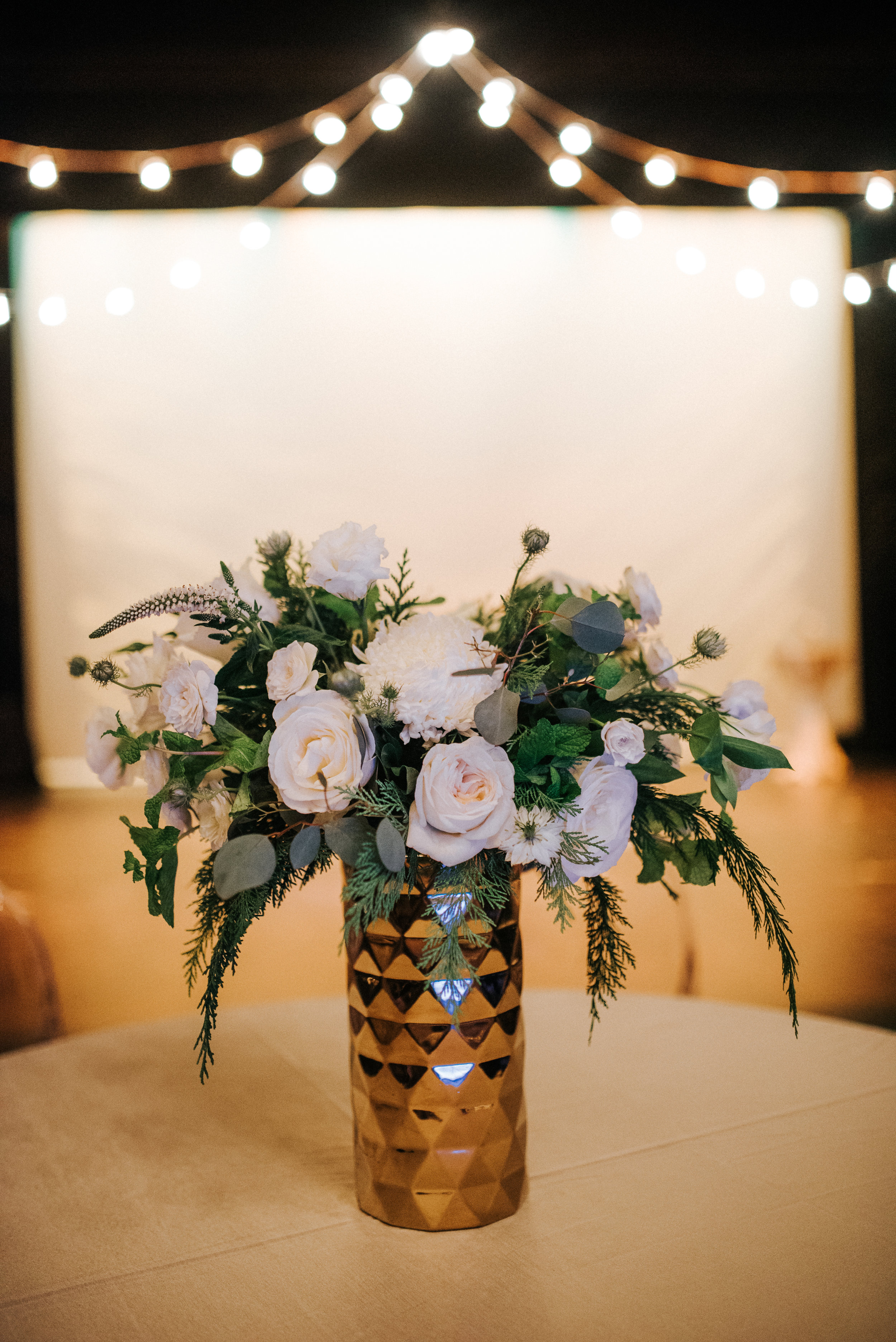Southern Fete, Southern Wedding, White and Green Floral Arrangement, Root Floral Design