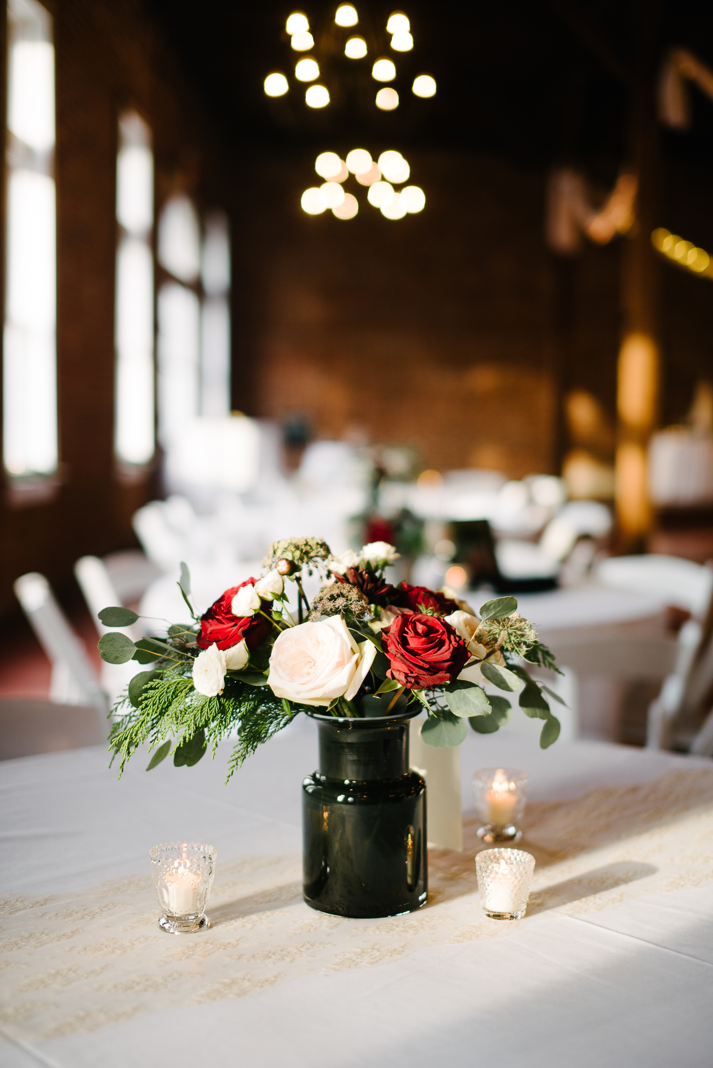 Southern Fete, Southern Wedding, Red and White Rose Center Piece, Root Floral Design