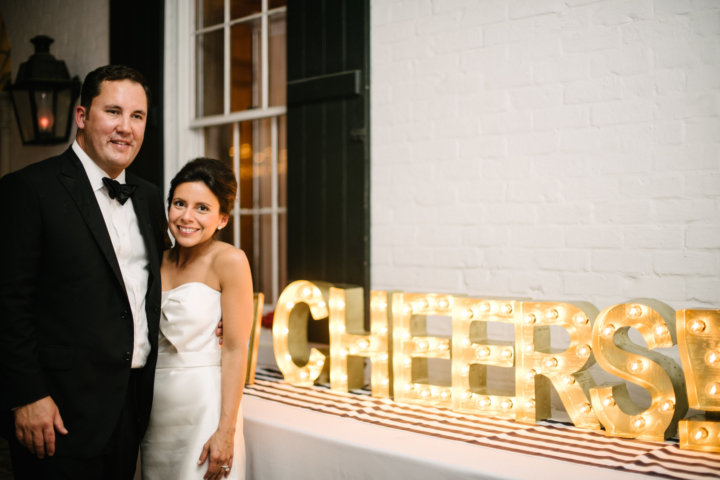 Southern Fete, Southern Wedding, Bride and Groom,  Light Decoration