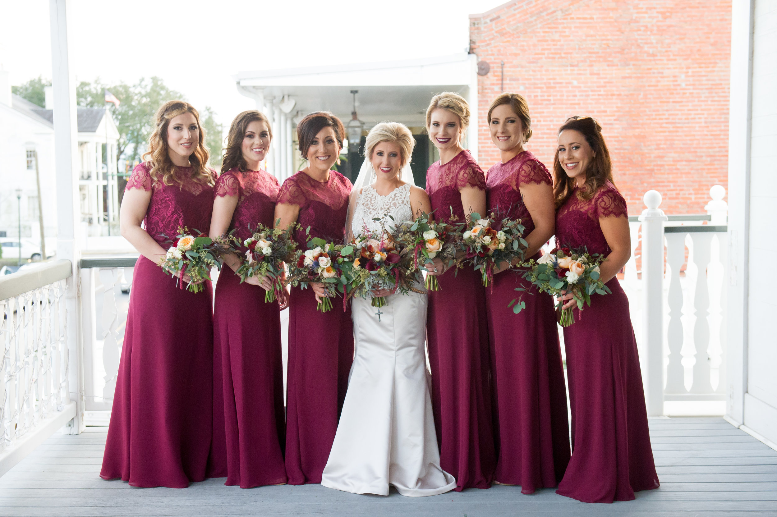 Southern Fete, Southern Wedding, Bridesmaid dress, Bridal Party, Maroon Bridesmaid dress