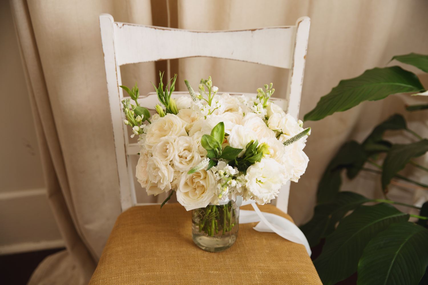 Southern Fete, Southern Wedding, Root Floral Design, White and Green Bouquet