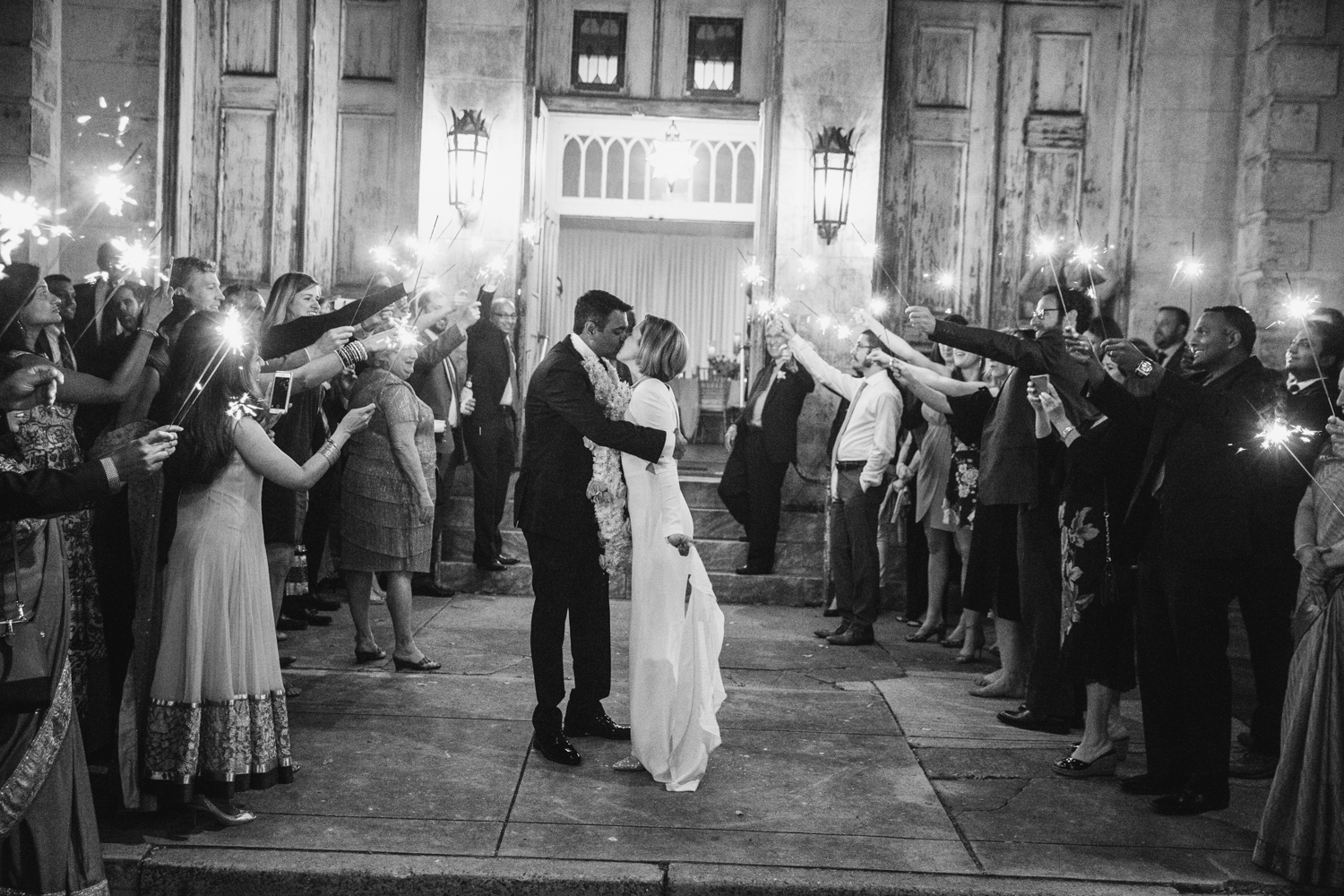 Southern Fete, Southern Wedding, Bride and Groom, Sparkler Exit, E Ray Photo