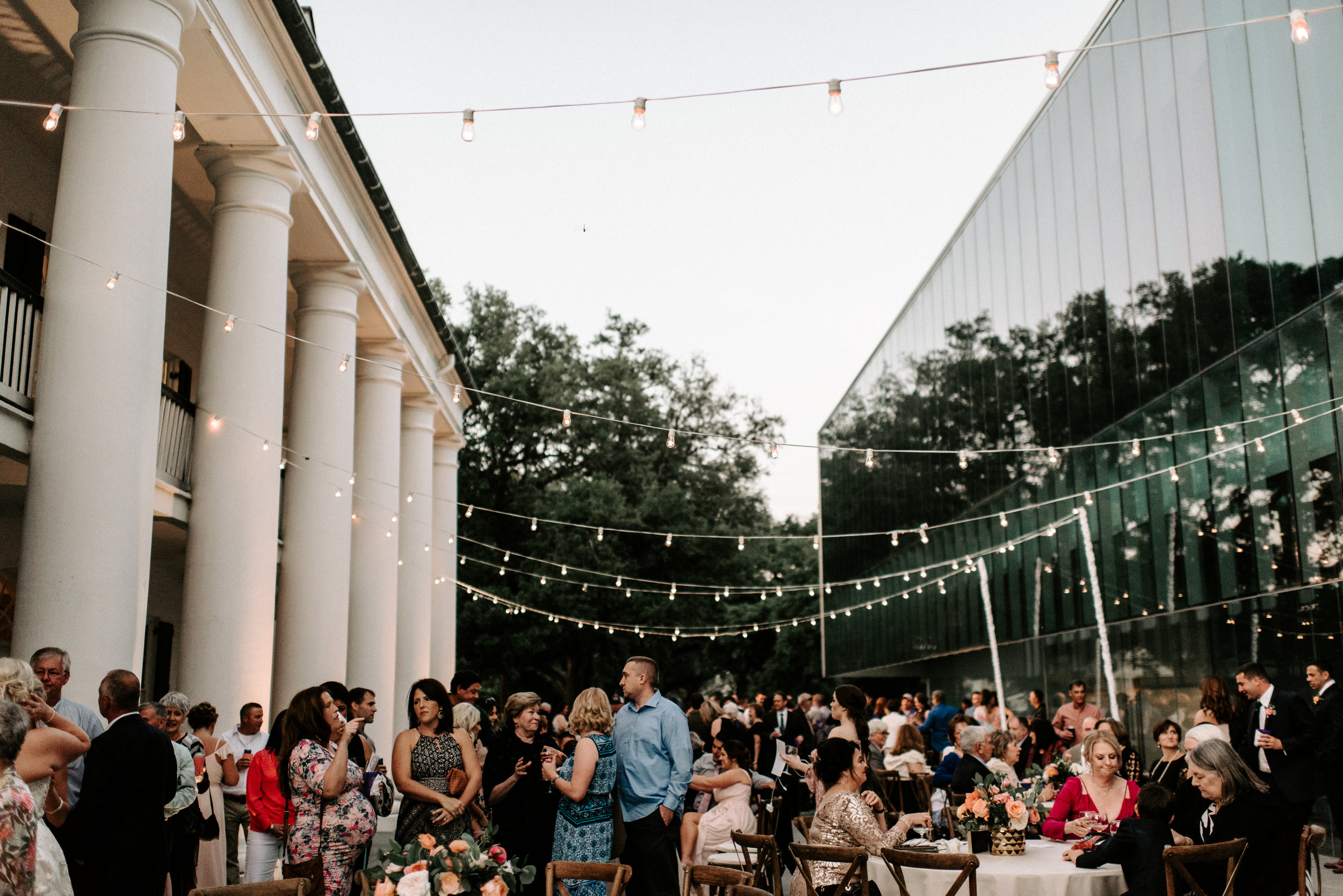 Southern Fete, Southern Wedding, Reception party, Outside reception, Hannah Mulligan Photography, Paul and Lulu Hilliard Art Museum