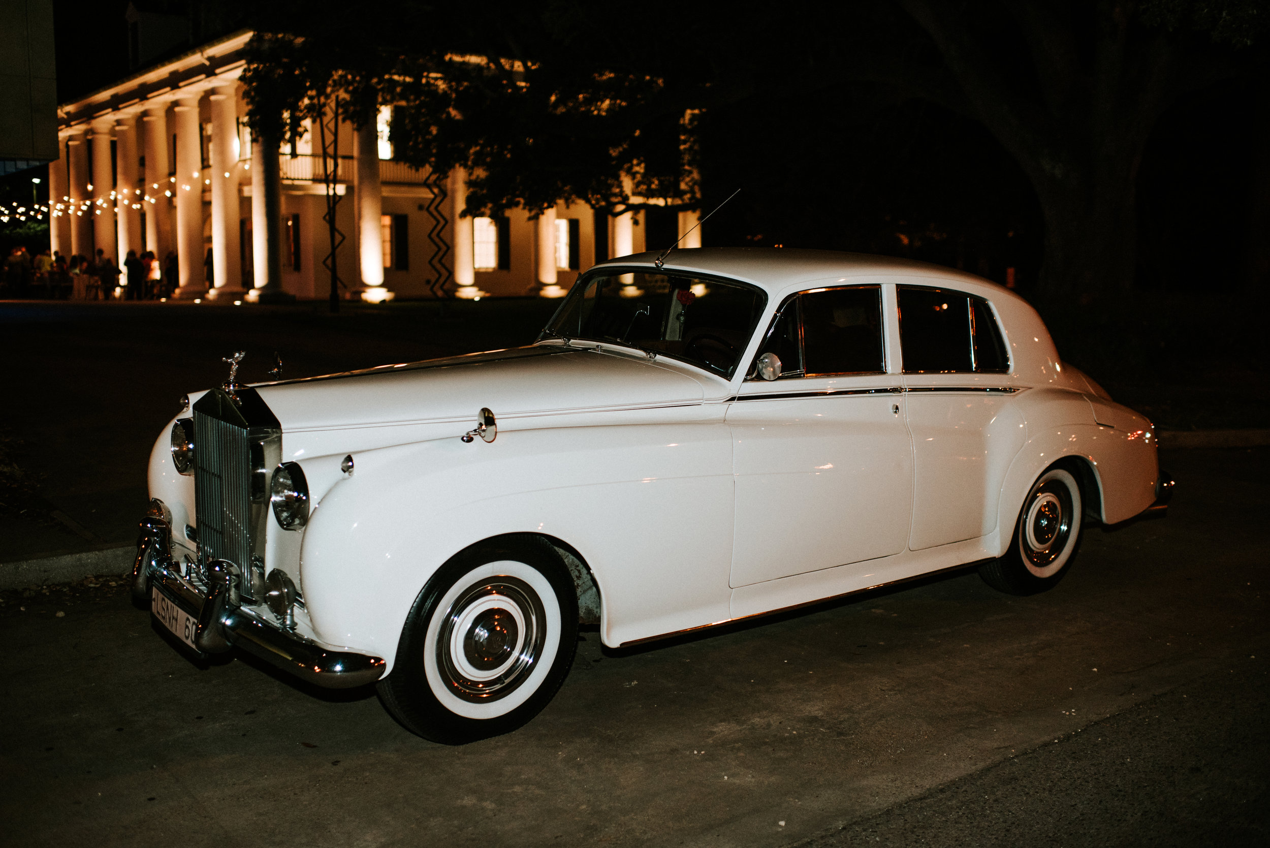 Southern Fete, Southern Wedding, Bride and Groom, White Get Away Car