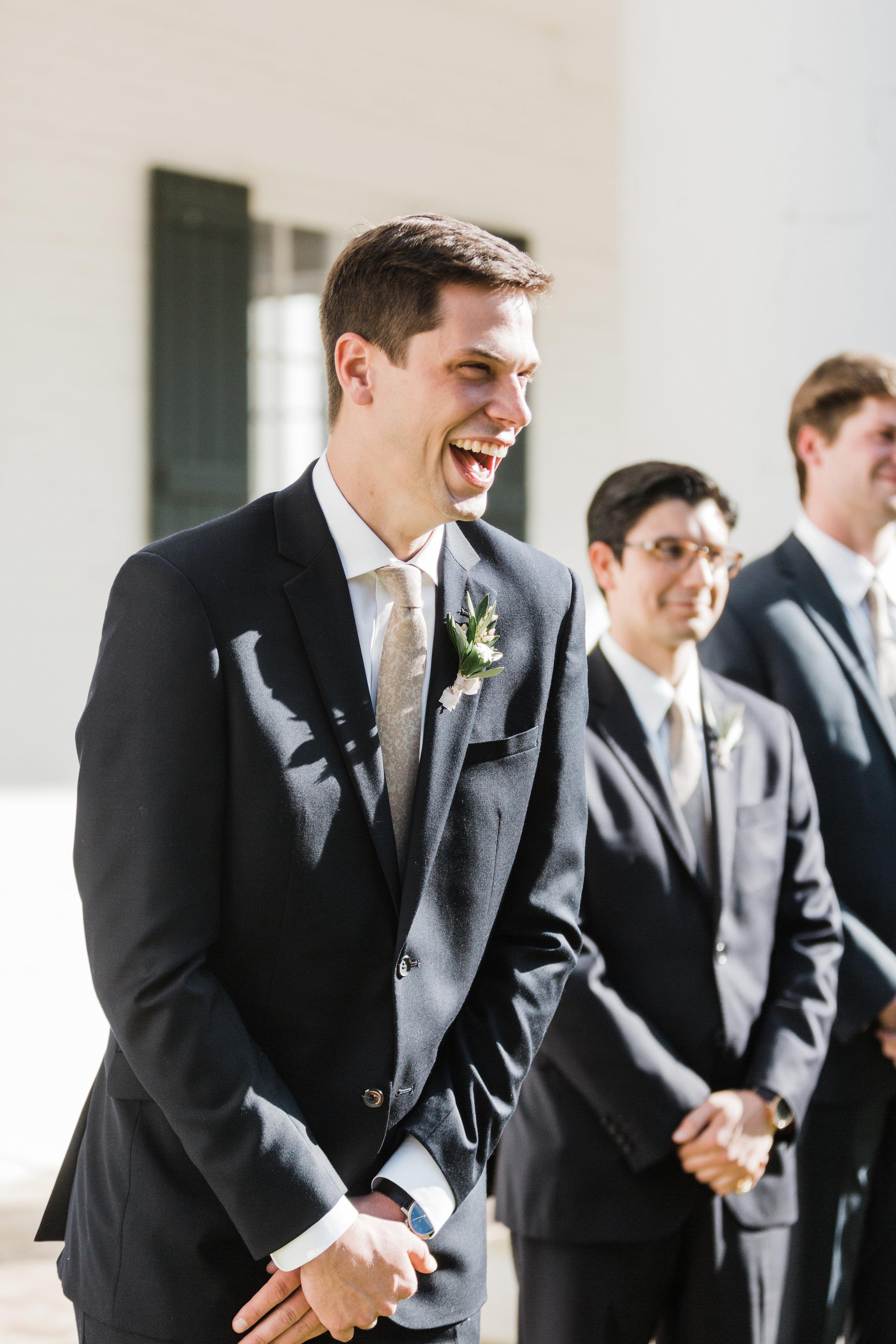 Southern Fete, Southern Wedding, Groom laughing, Carolynn Seibert Photography