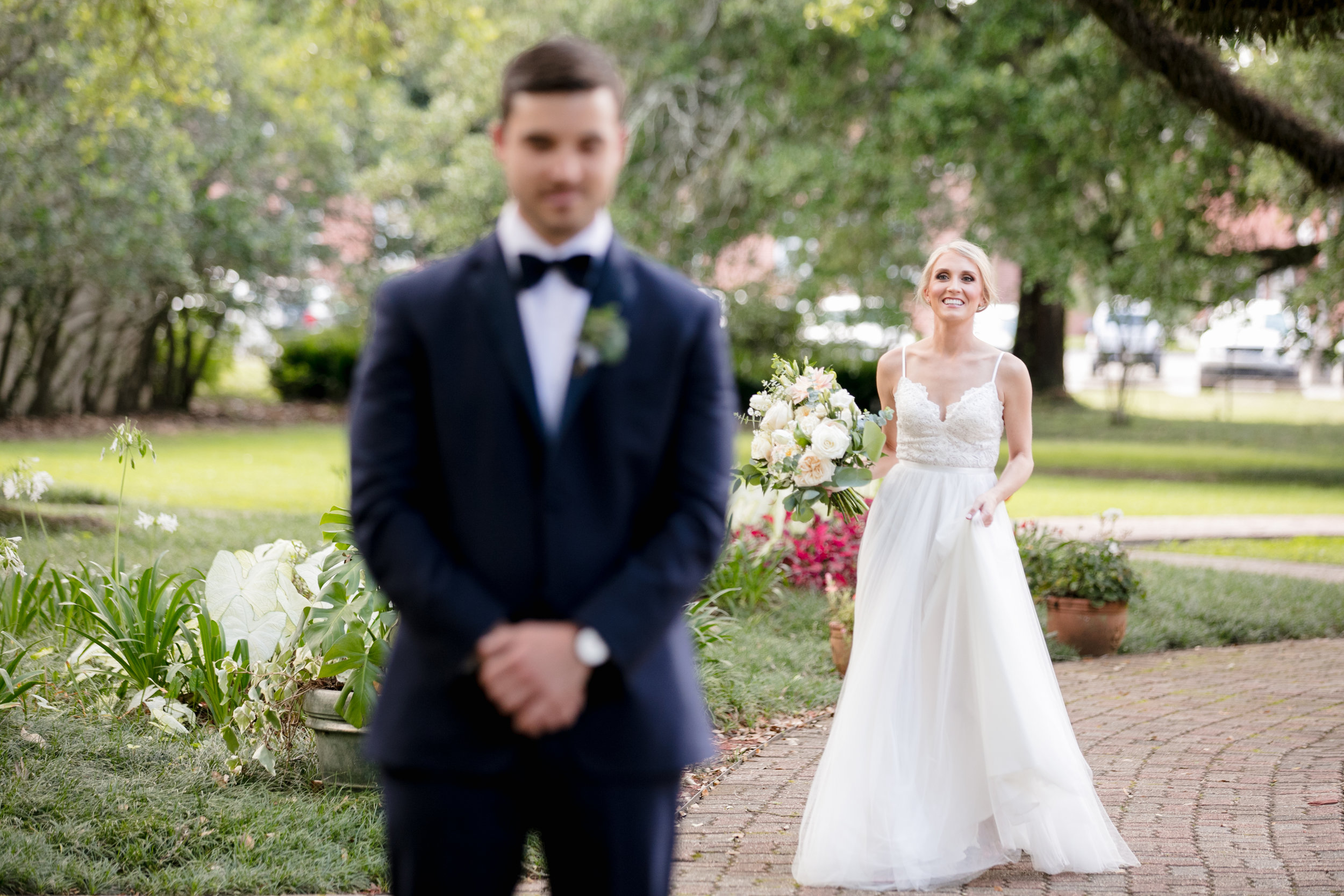 Southern Fete, Southern Wedding, Bride and Groom first look, Brocato Photography