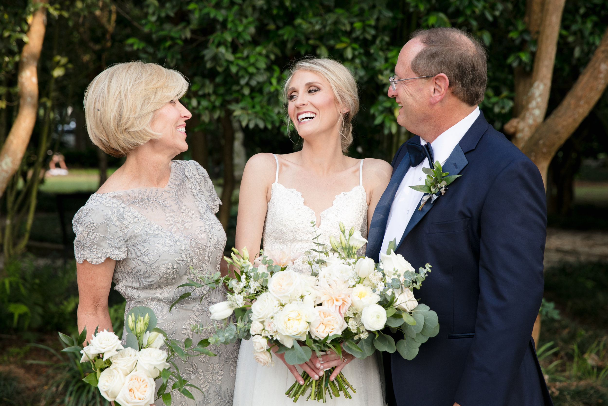 Southern Fete, Southern Wedding, Bride and her parents, Brocato Photography