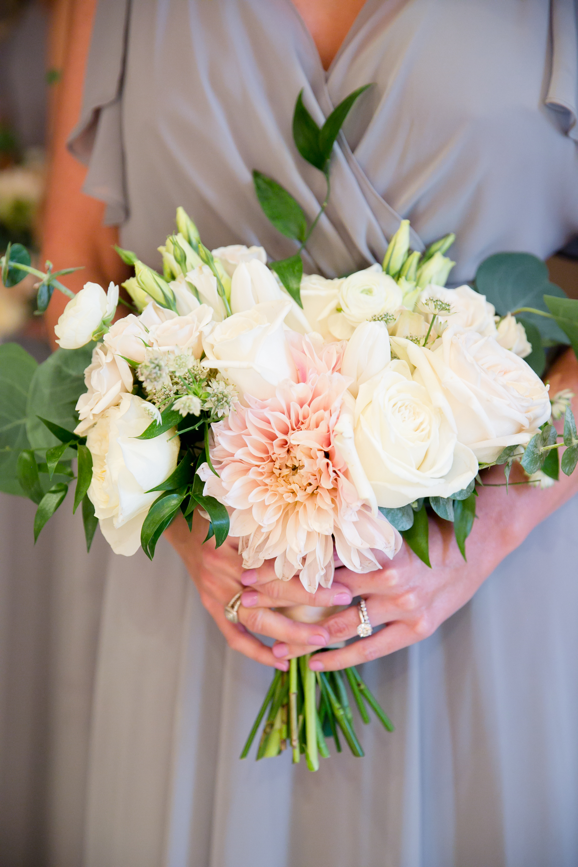 Southern Fete, Southern Wedding, White, Blush, and Green Flower Bouquet, Root Floral Design