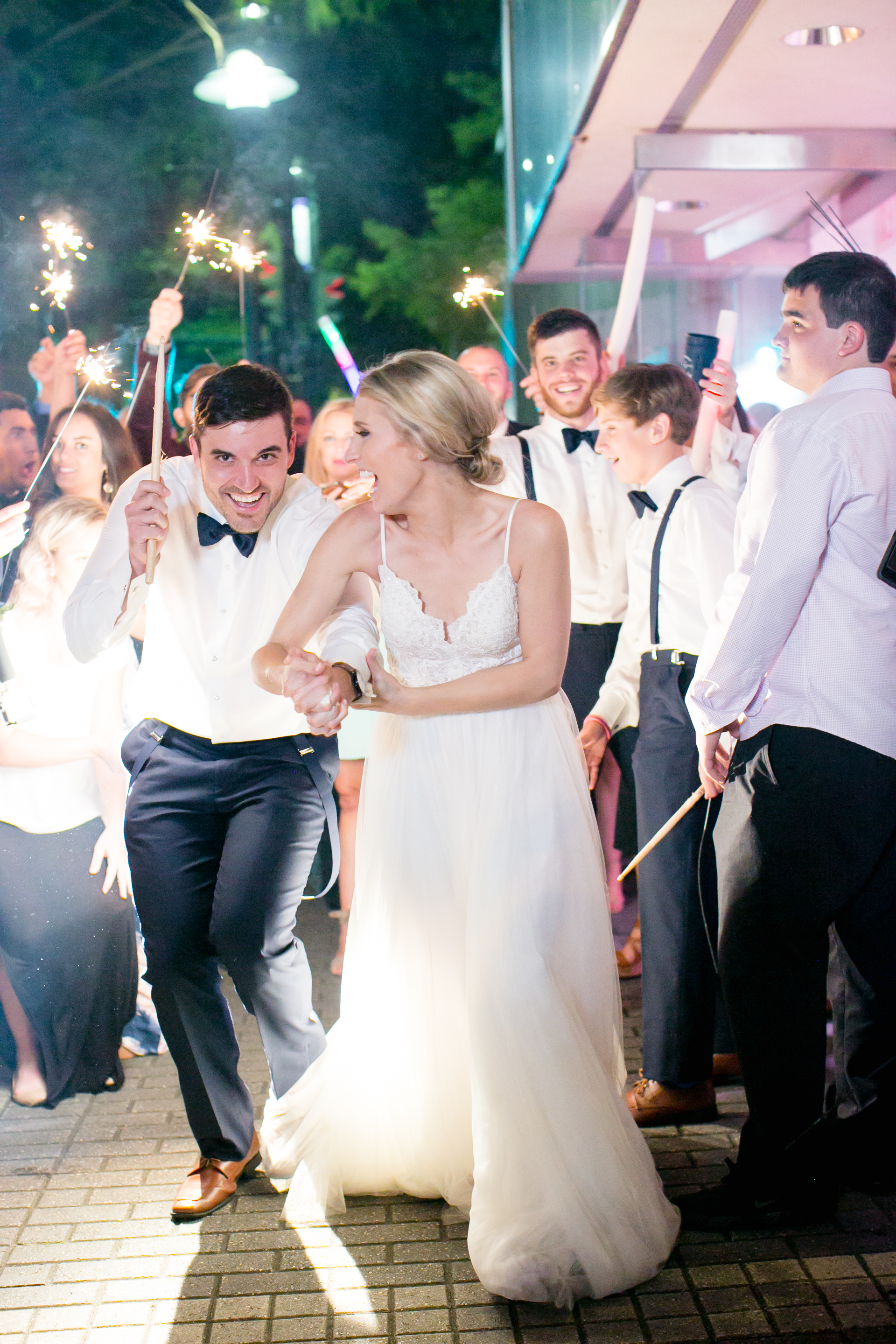 Southern Fete, Southern Wedding, Sparkler Exit, Bride and Groom, Brocato Photography