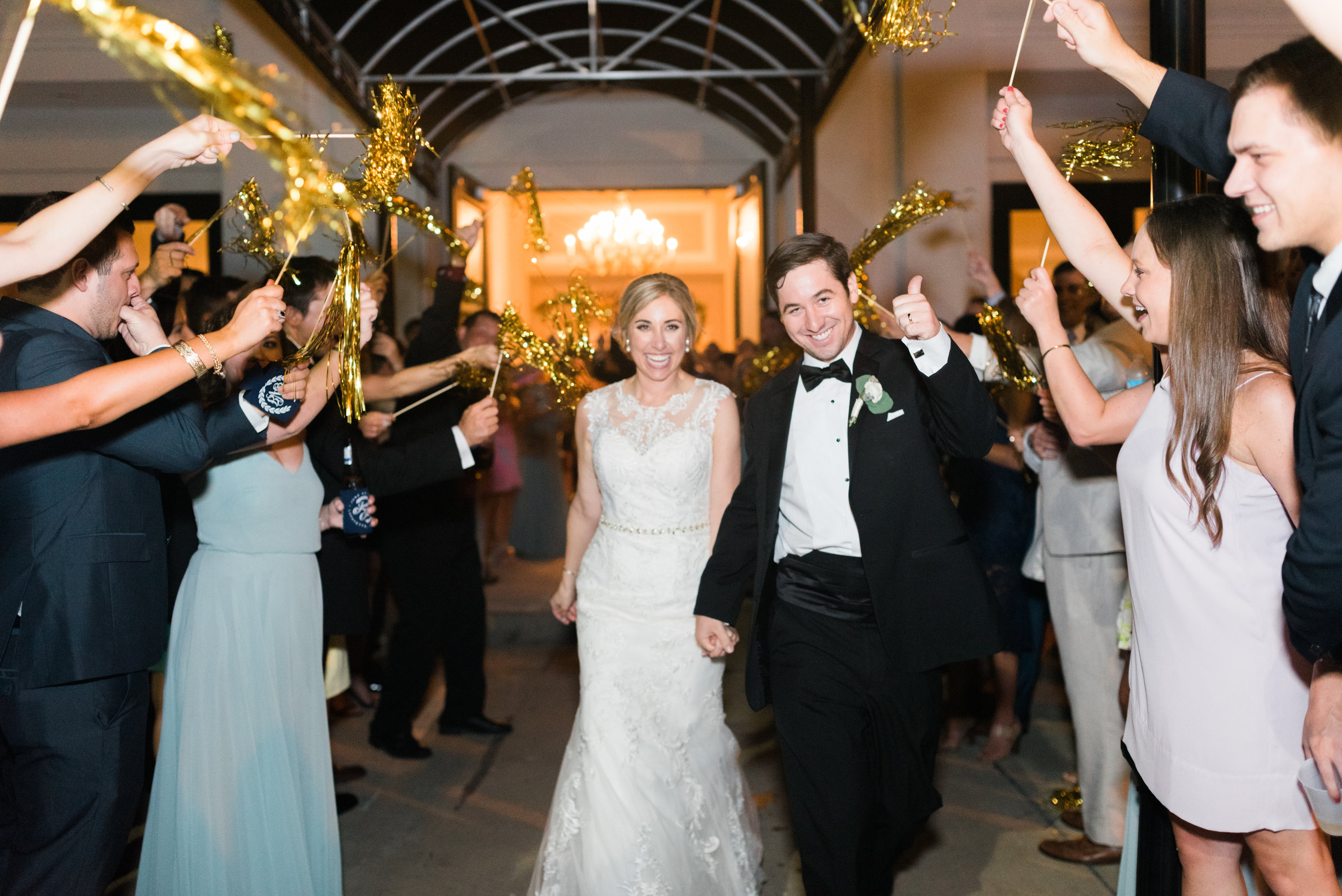 Southern Fete, Southern Wedding, Bride and Groom, Gold Pom Exit, Sarah Beth Photography