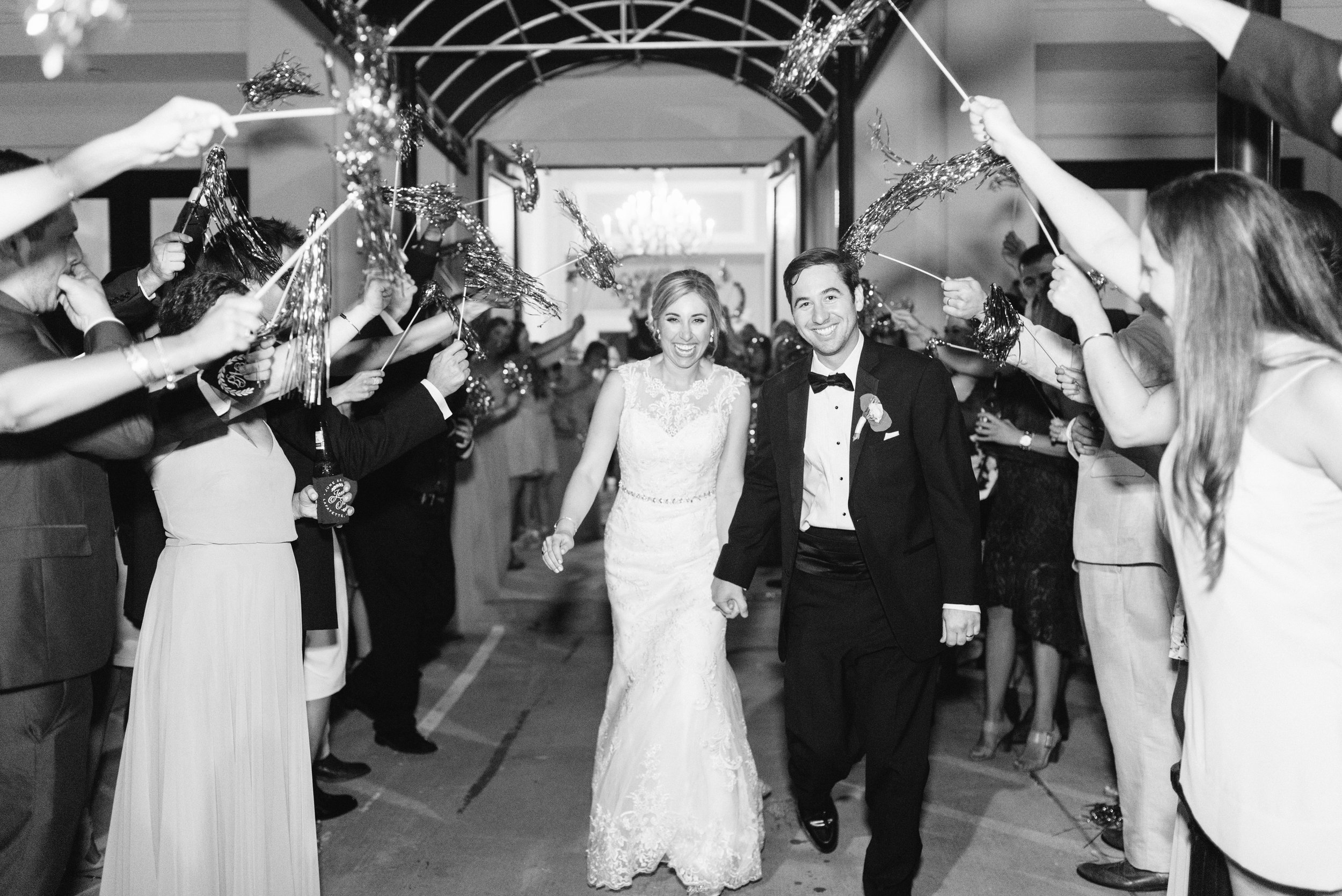 Southern Fete, Southern Wedding, Bride and Groom, Le Pavillon, Sarah Beth Photography, Gold Pom Exit