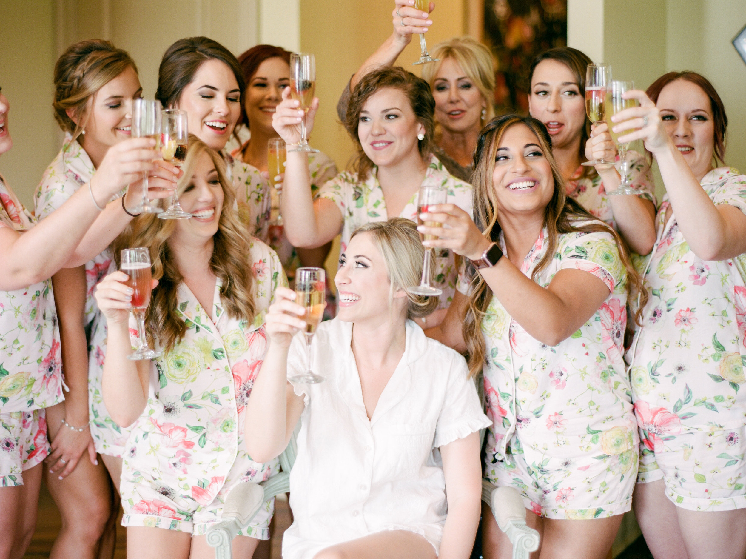 Southern Fete, Southern Wedding, Bride and Bridesmaid, Champagne toast, Sarah Beth Photography, Bleu Coiffure
