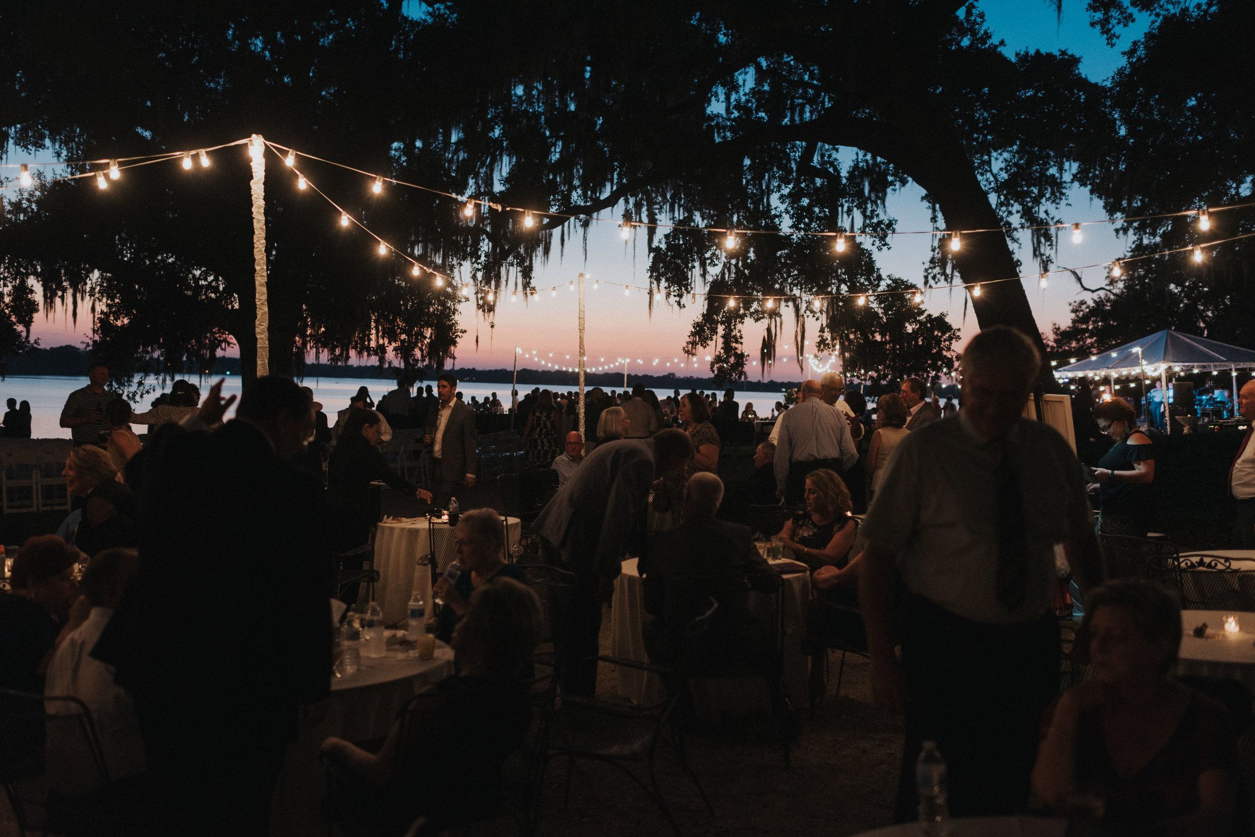 Southern Fete, Southern Wedding, Light Decor, Sunset Reception