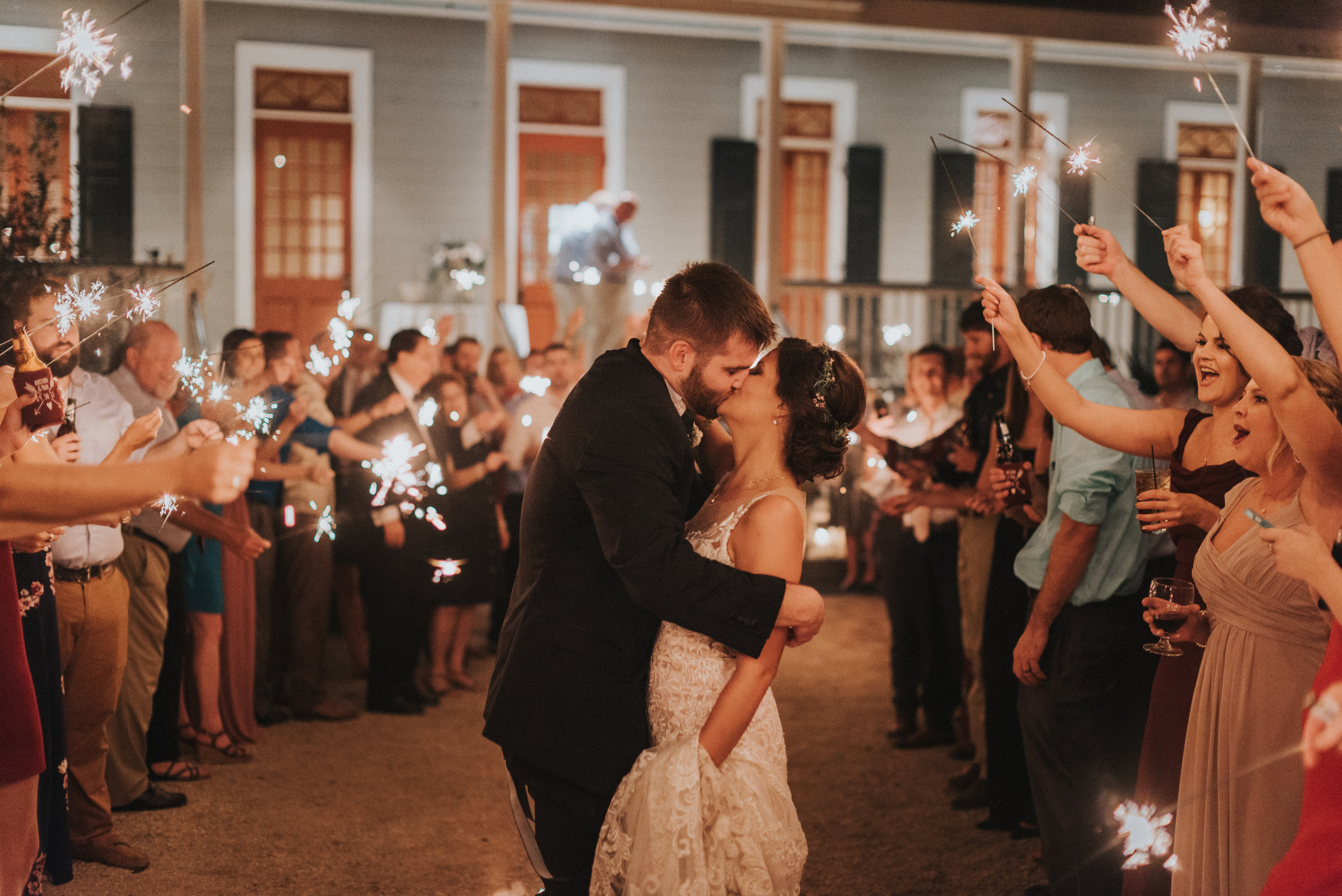 Southern Fete, Southern Wedding, Bride and Groom, Sparkler Exit