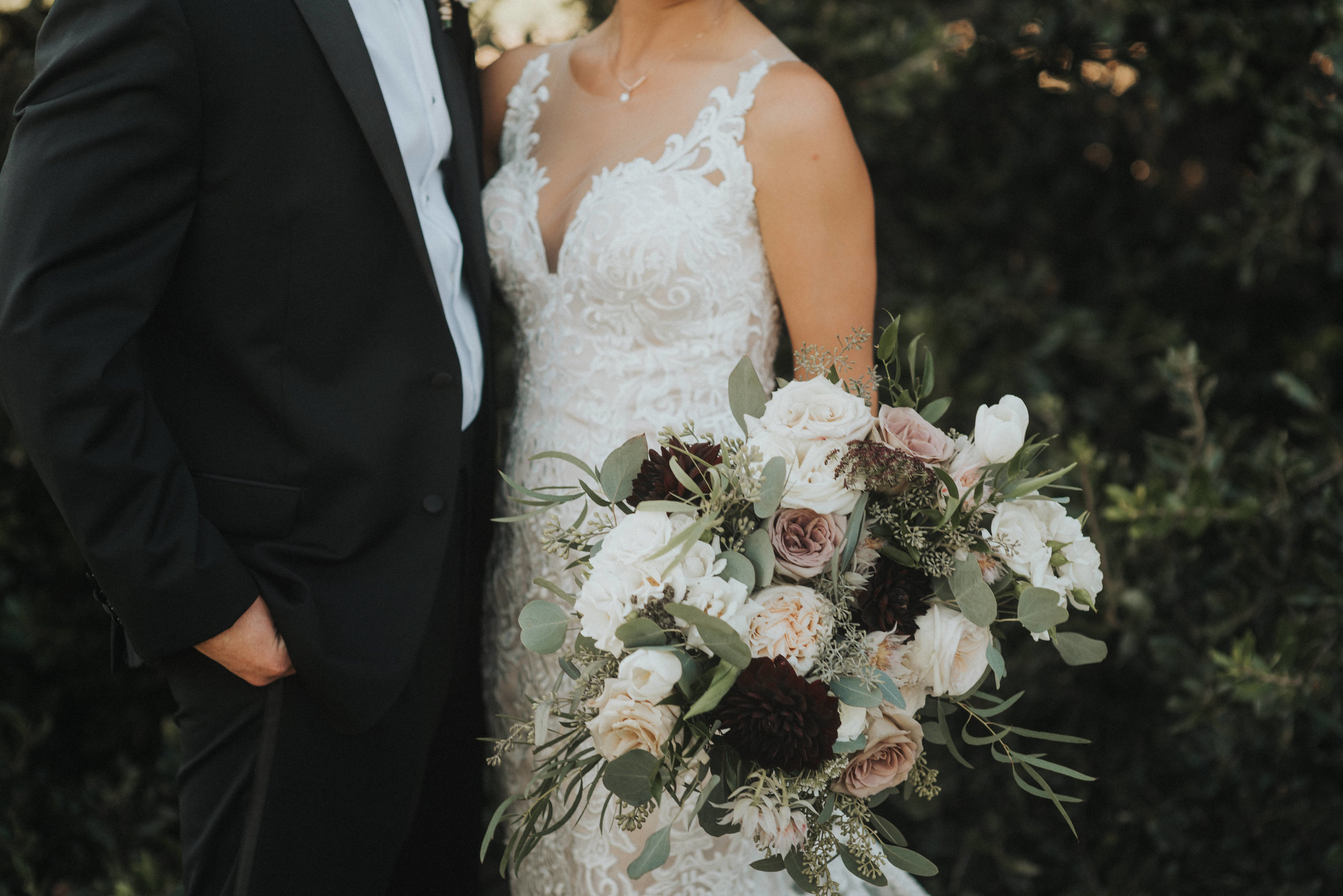 Southern Fete, Southern Wedding, Dark Purple, Blush and White Flower Bouquet