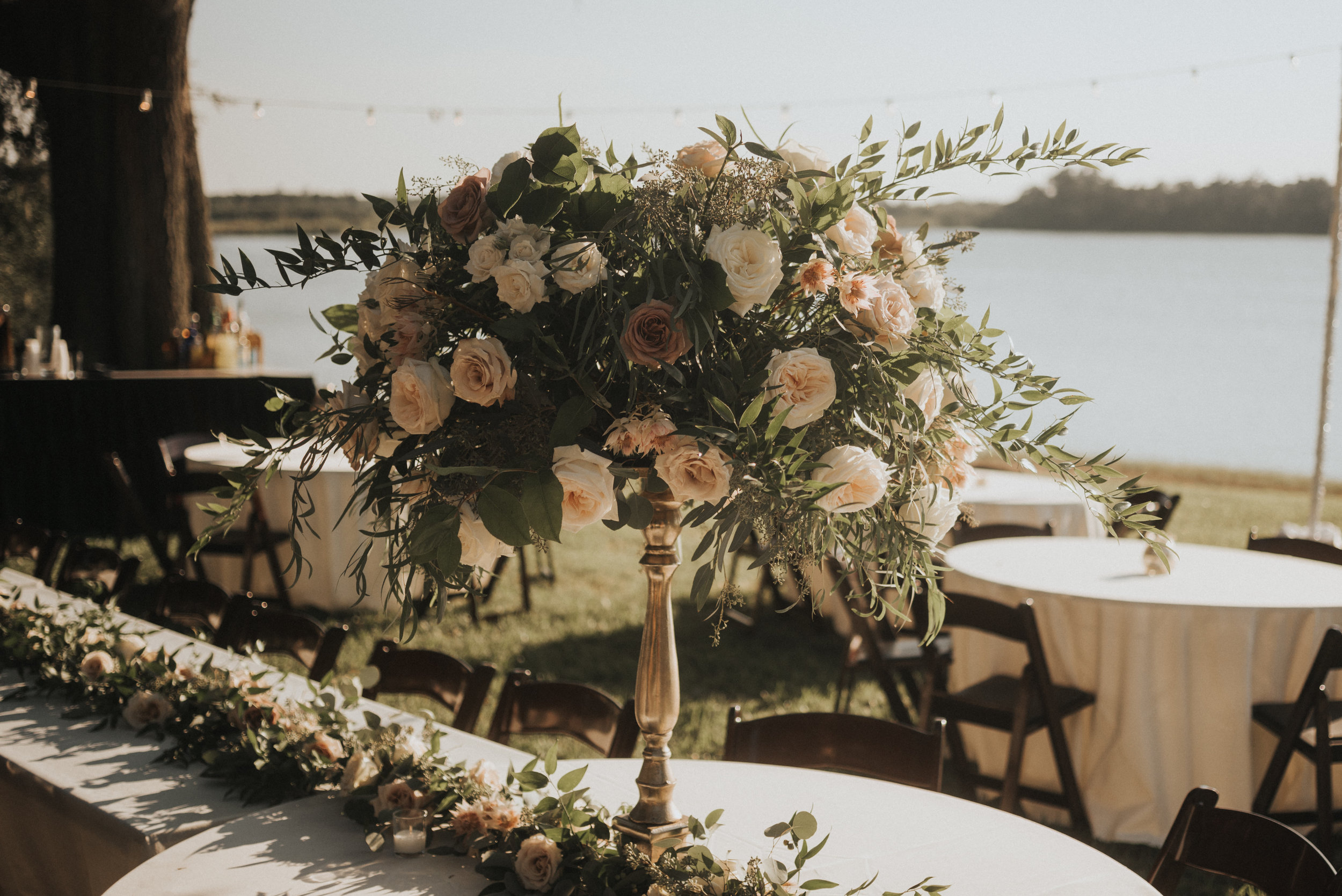 Southern Fete, Southern Wedding, White and Blush Flower Bouquet Center Piece
