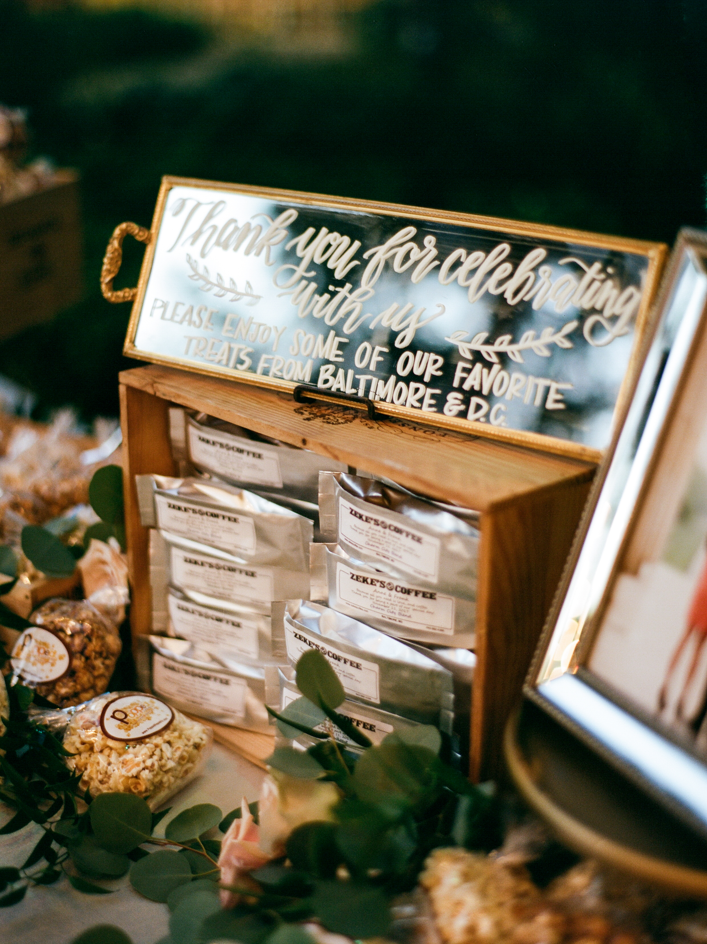 Southern Fete, Coffee Favors, Mirror Signage, Southern Wedding