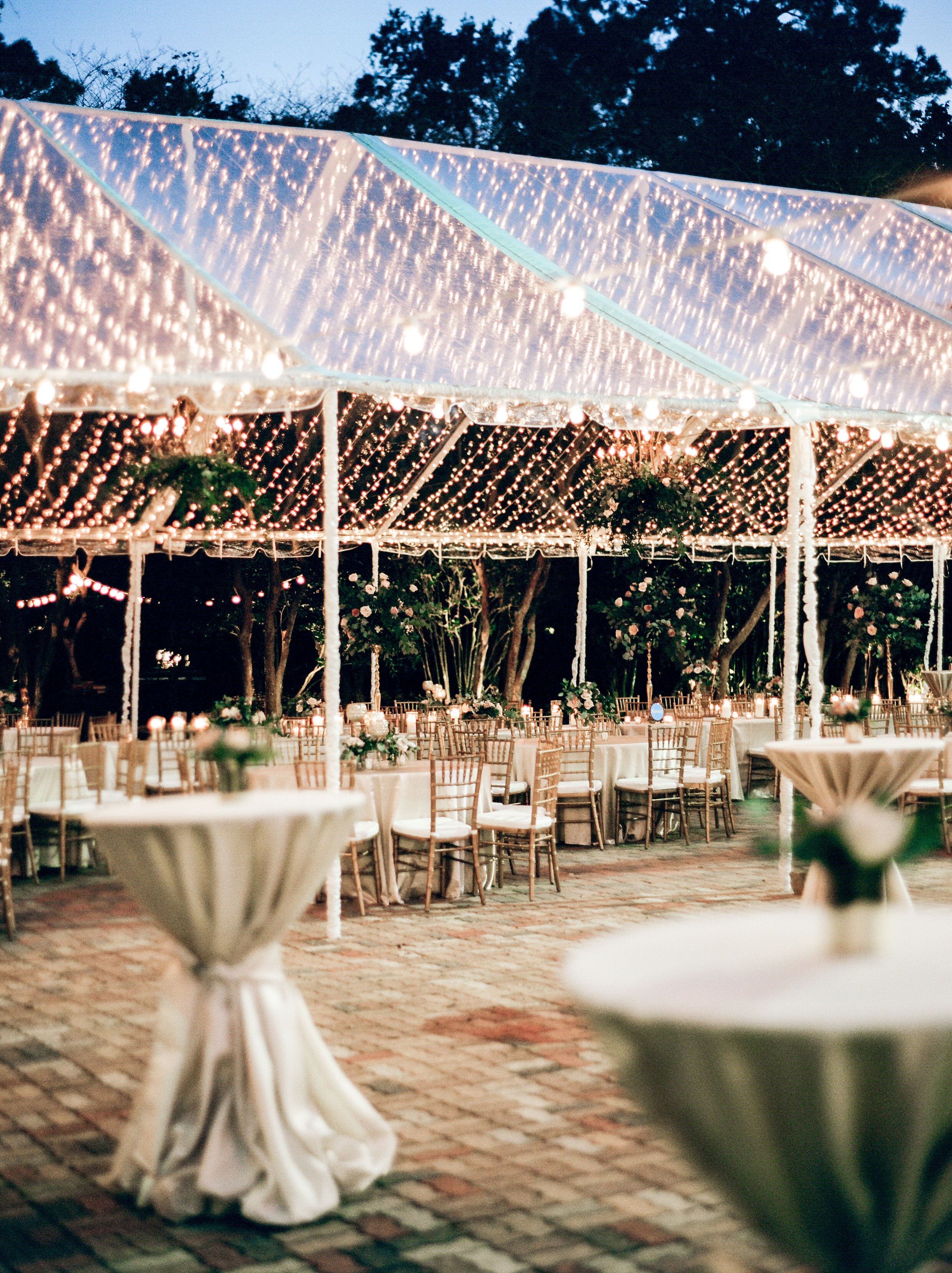 Southern Fete, Southern Wedding, Tent Reception, Light Decor