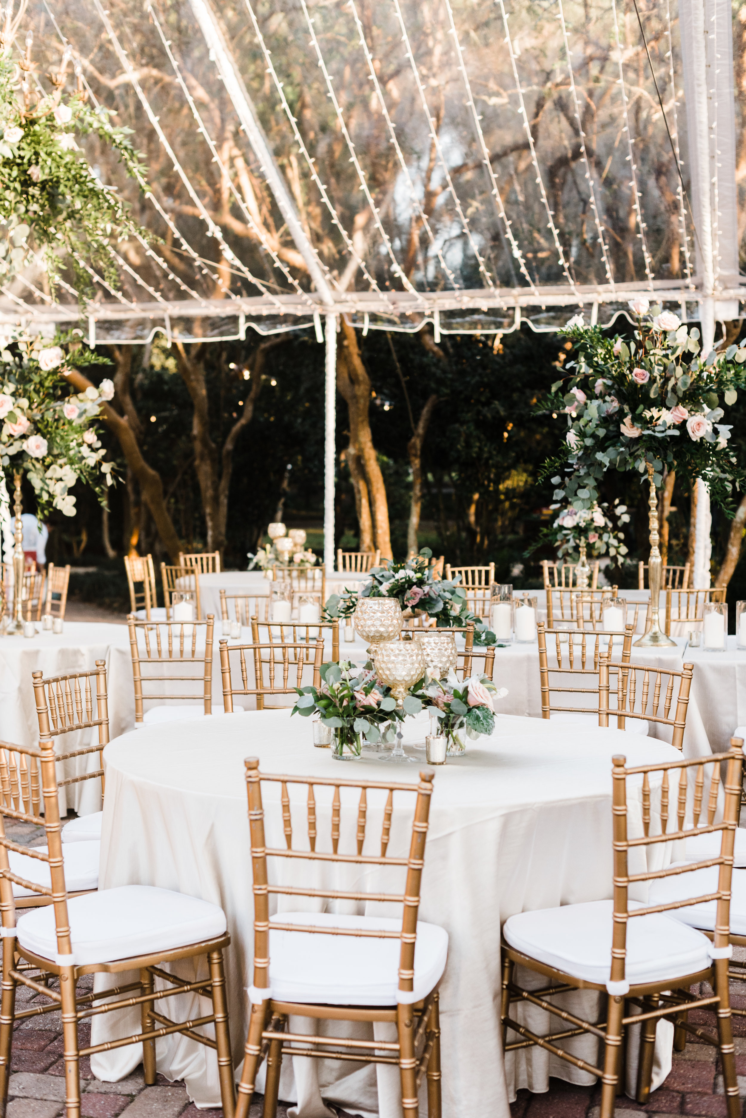 Southern Fete, Southern Wedding, Pink and Green Flower Center Pieces, White and Gold Table Chairs