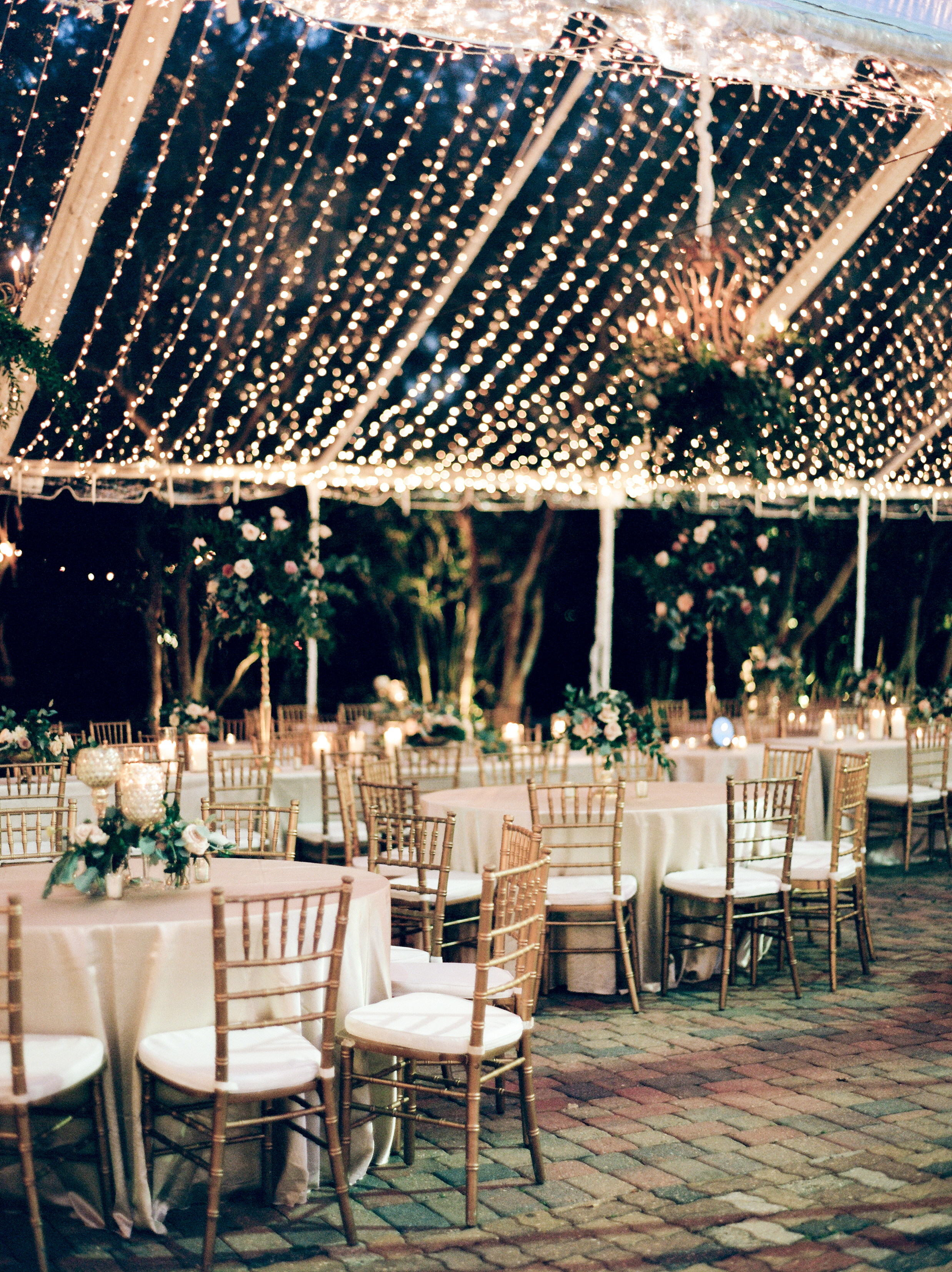 Southern Fete, Southern Wedding, Light Decor, White and Gold Wedding chairs, Green and Pink Flower Bouquets