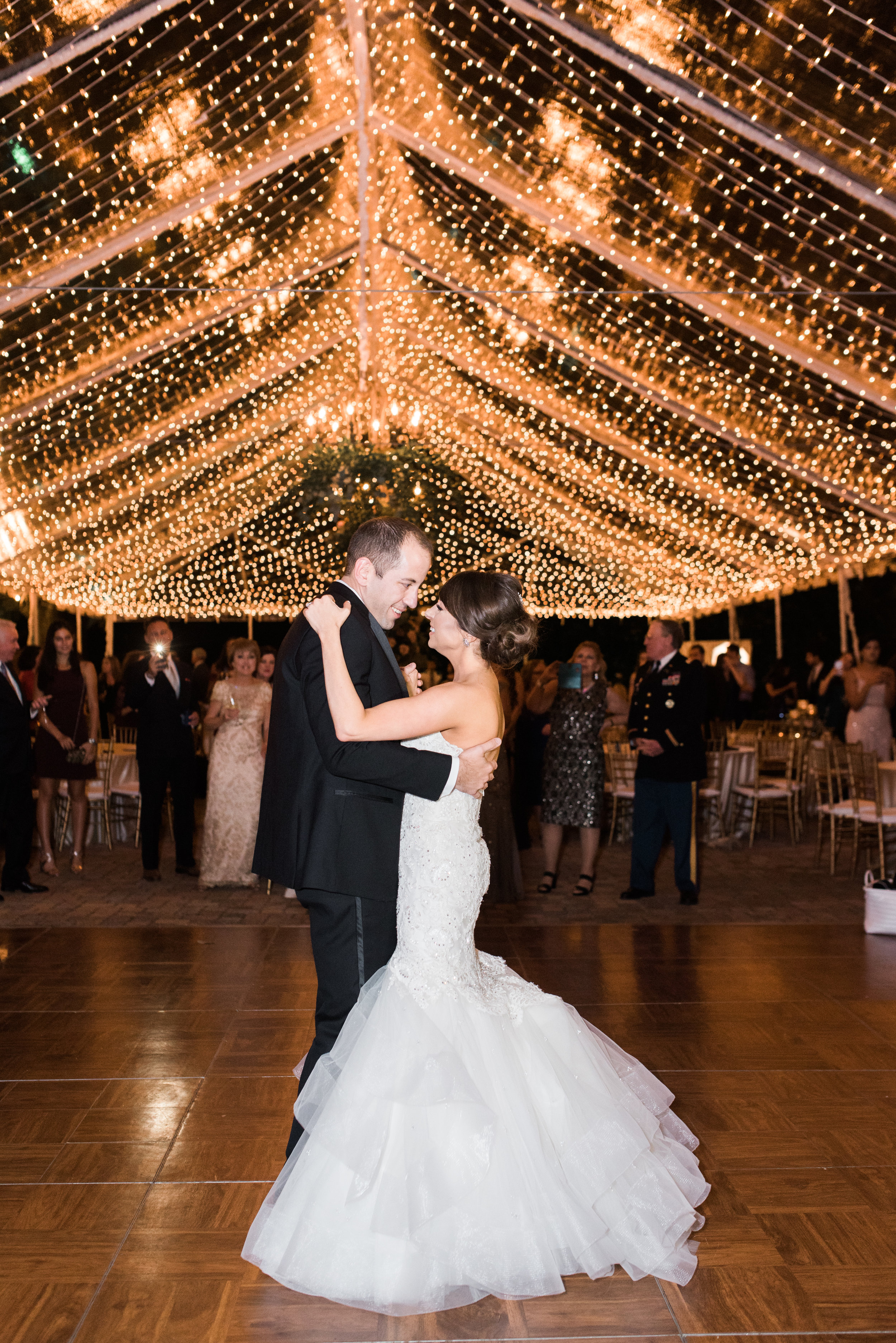 Southern Fete, Southern Wedding, Bride and Groom First Dance, Reception, Light Decor