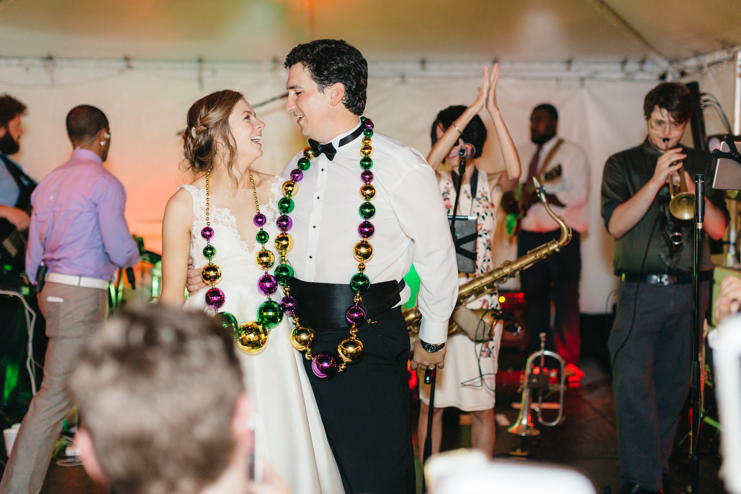 Southern Fete, Southern Wedding, Bride and Groom, Mardi Gras themed