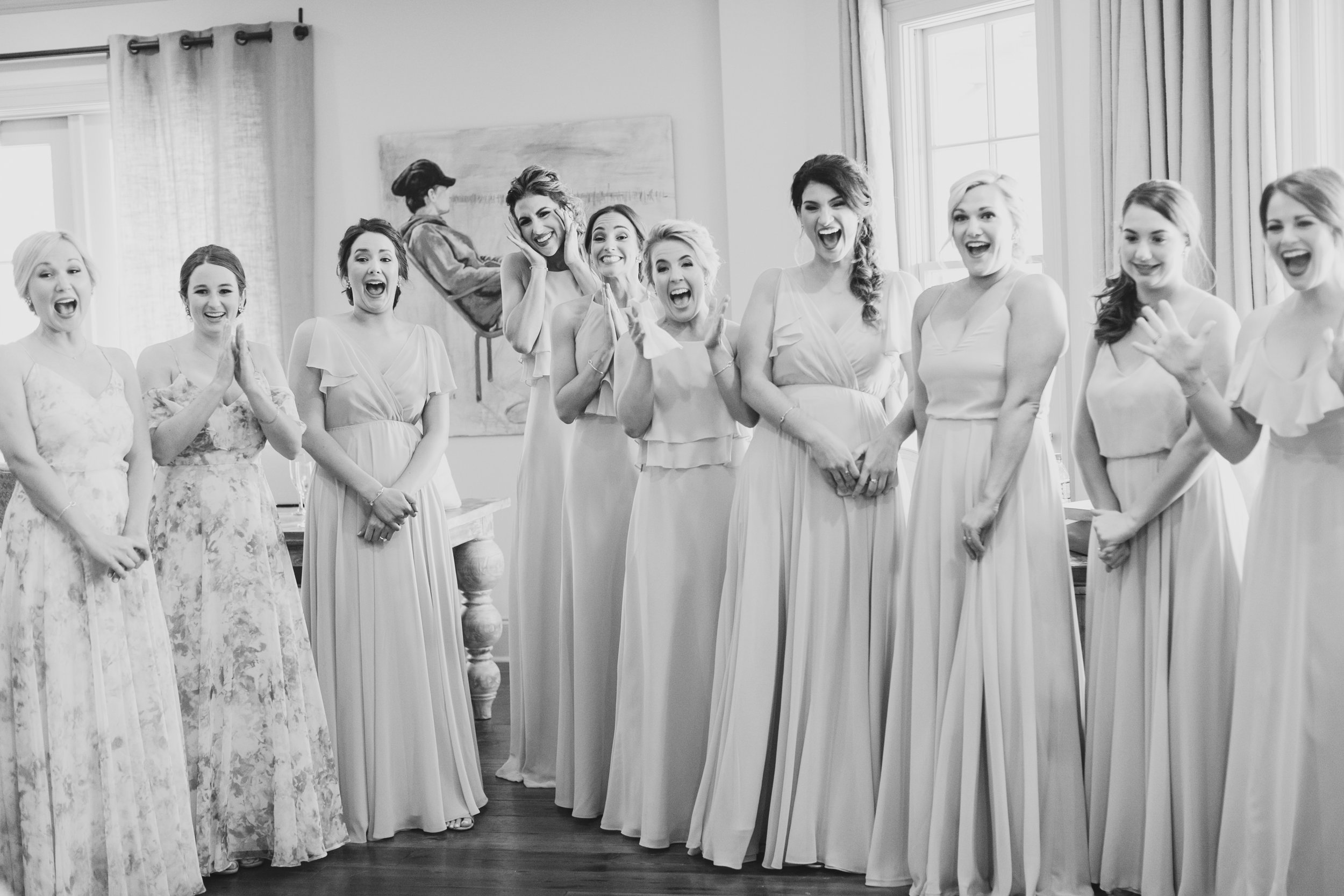 Southern Fete, Southern Wedding, Bride and Bridesmaids first look, Kimbrali Photography