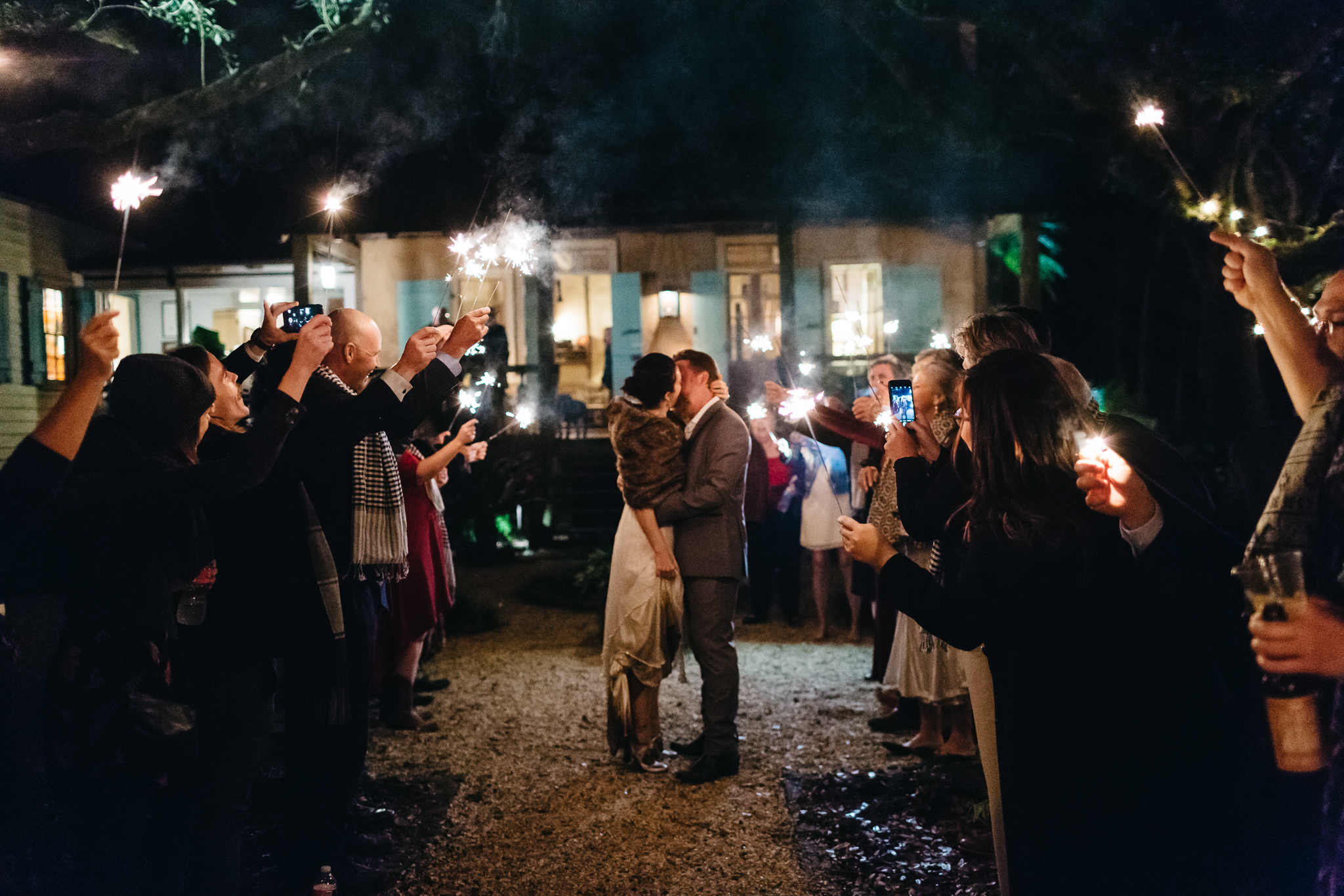 Southern Fete, Southern Wedding, Maison Madeleine, Sparkler Exit, Bride and Groom