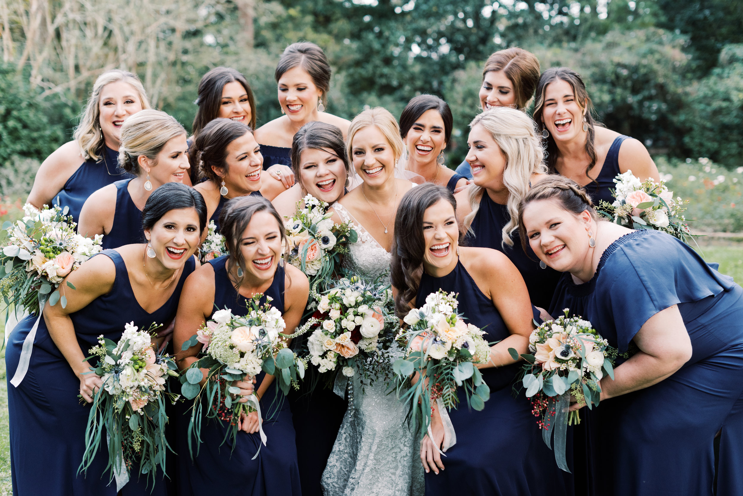 Southern Fete, Southern Wedding, Bride and Bridesmaids, Navy Blue Bridesmaids dresses