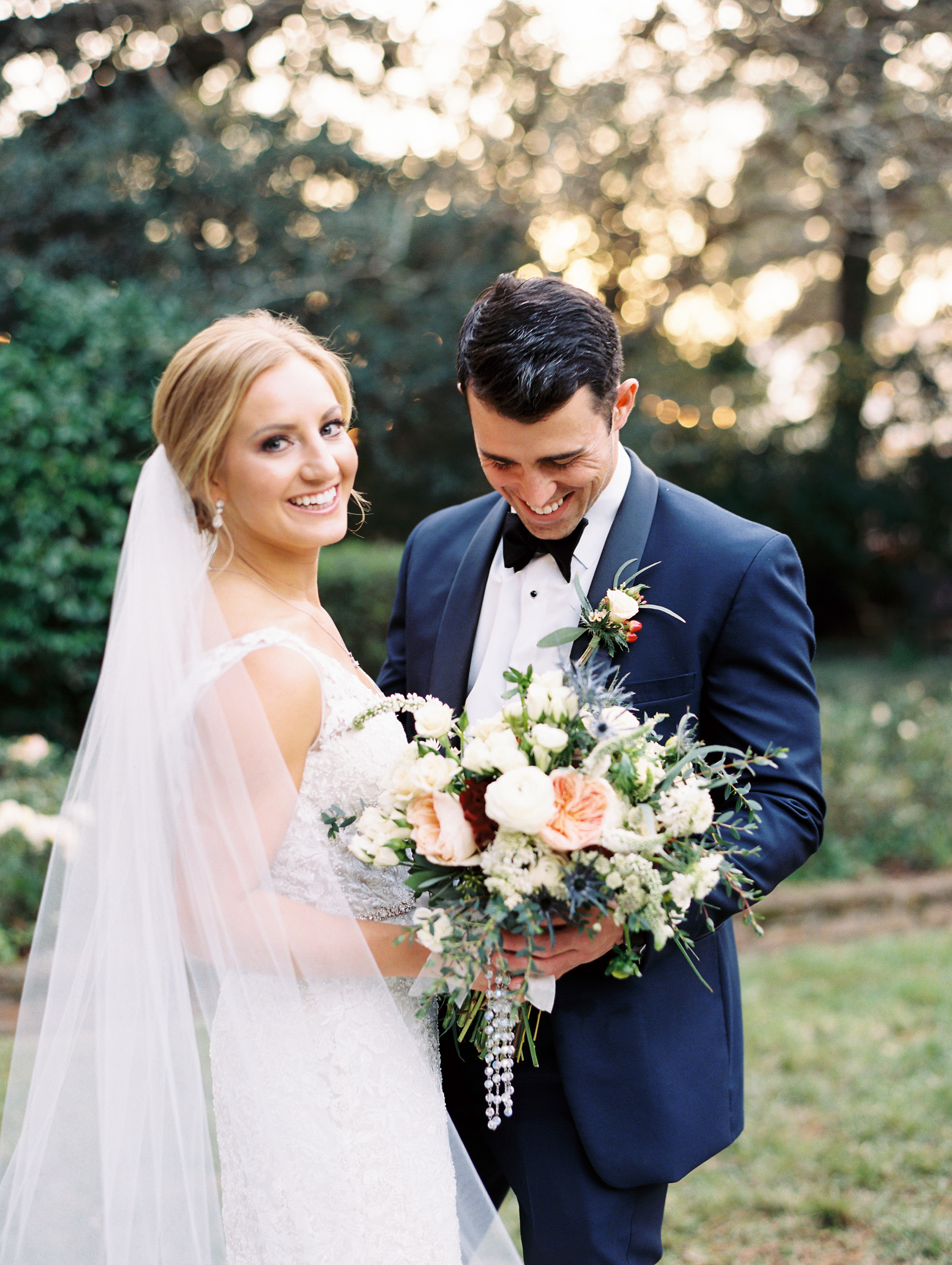 Southern Fete, Southern Wedding, Peregrin's Florist, Bride and Groom first look, Sarah Beth Photography