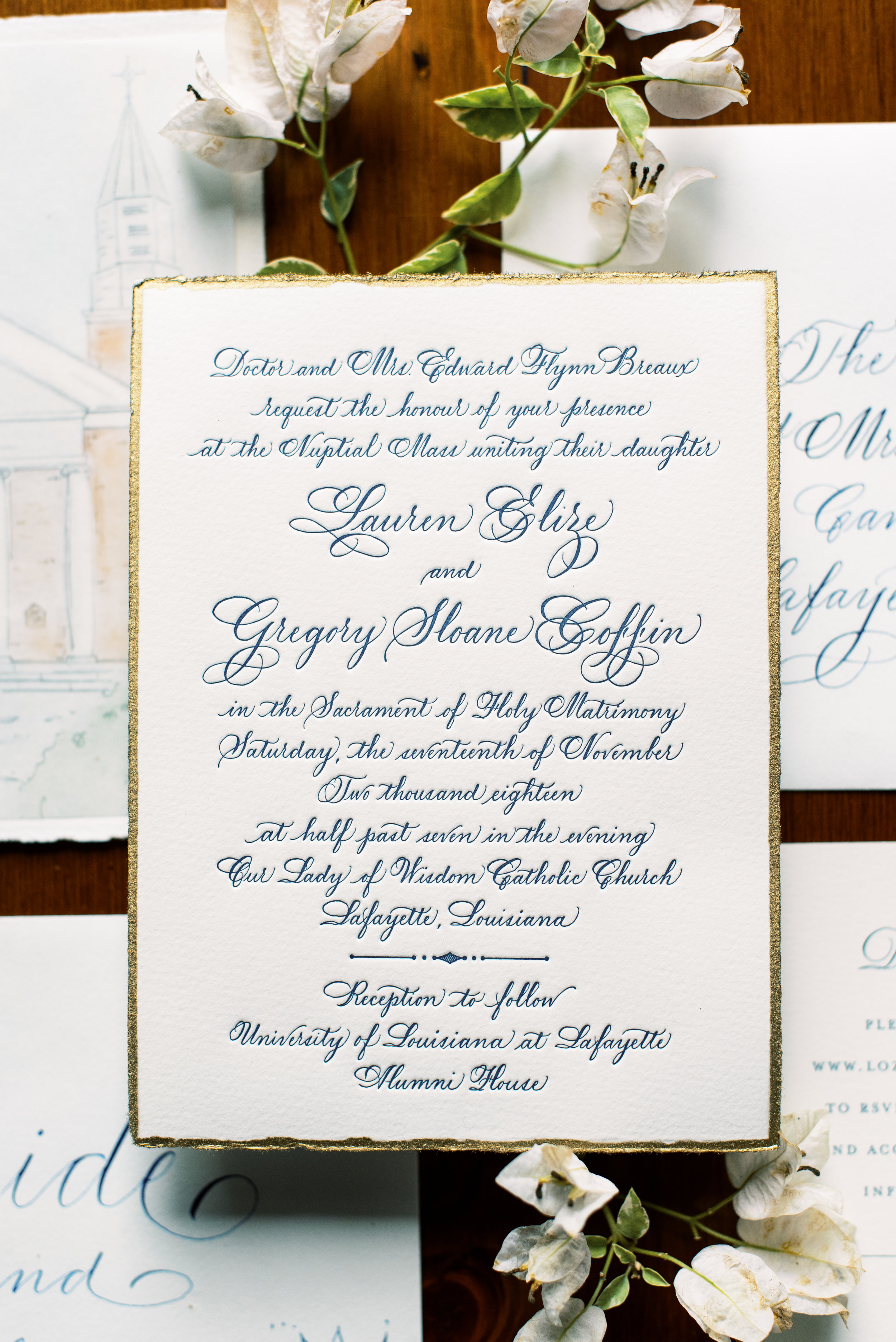 Southern Fete, Southern Wedding, Save the dates, Invitation Calligraphy, Jan Pruitt, Sarah Beth Photography, Our Lady of Wisdom Church