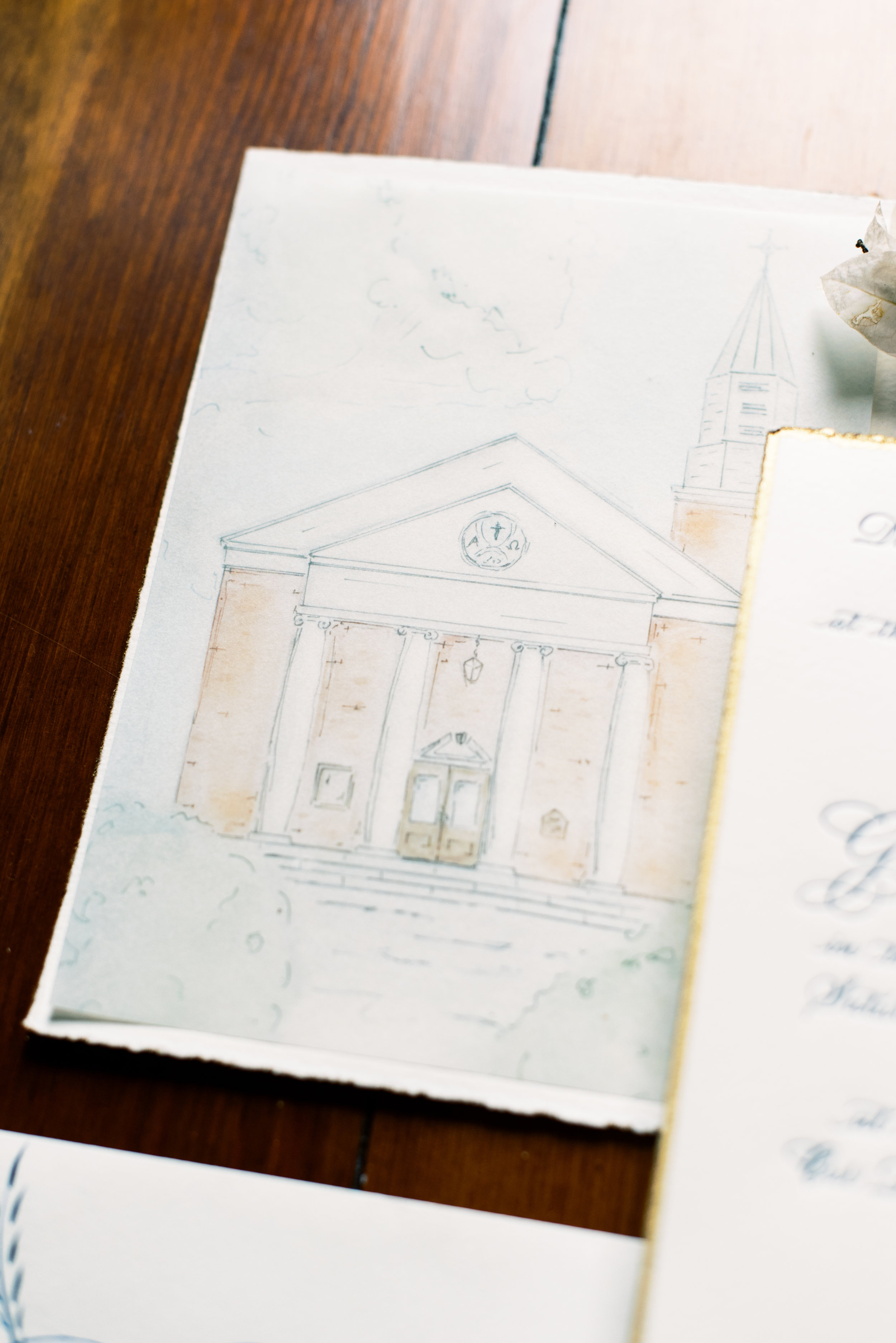 Southern Fete, Southern Wedding, Drawing of the Church, Sarah Beth Photography
