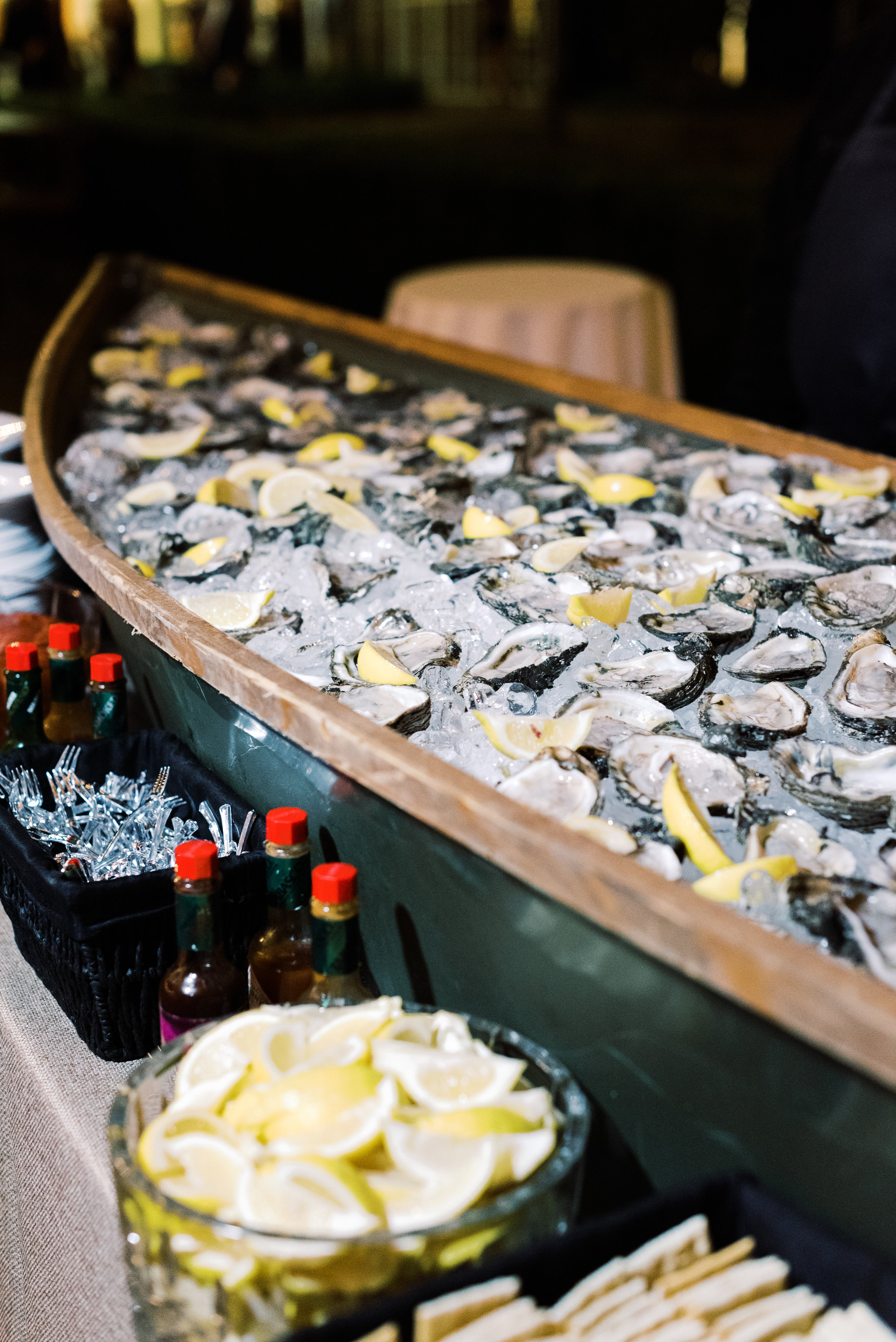 Southern Fete, Southern Wedding, Canoe of Oysters, Food Table