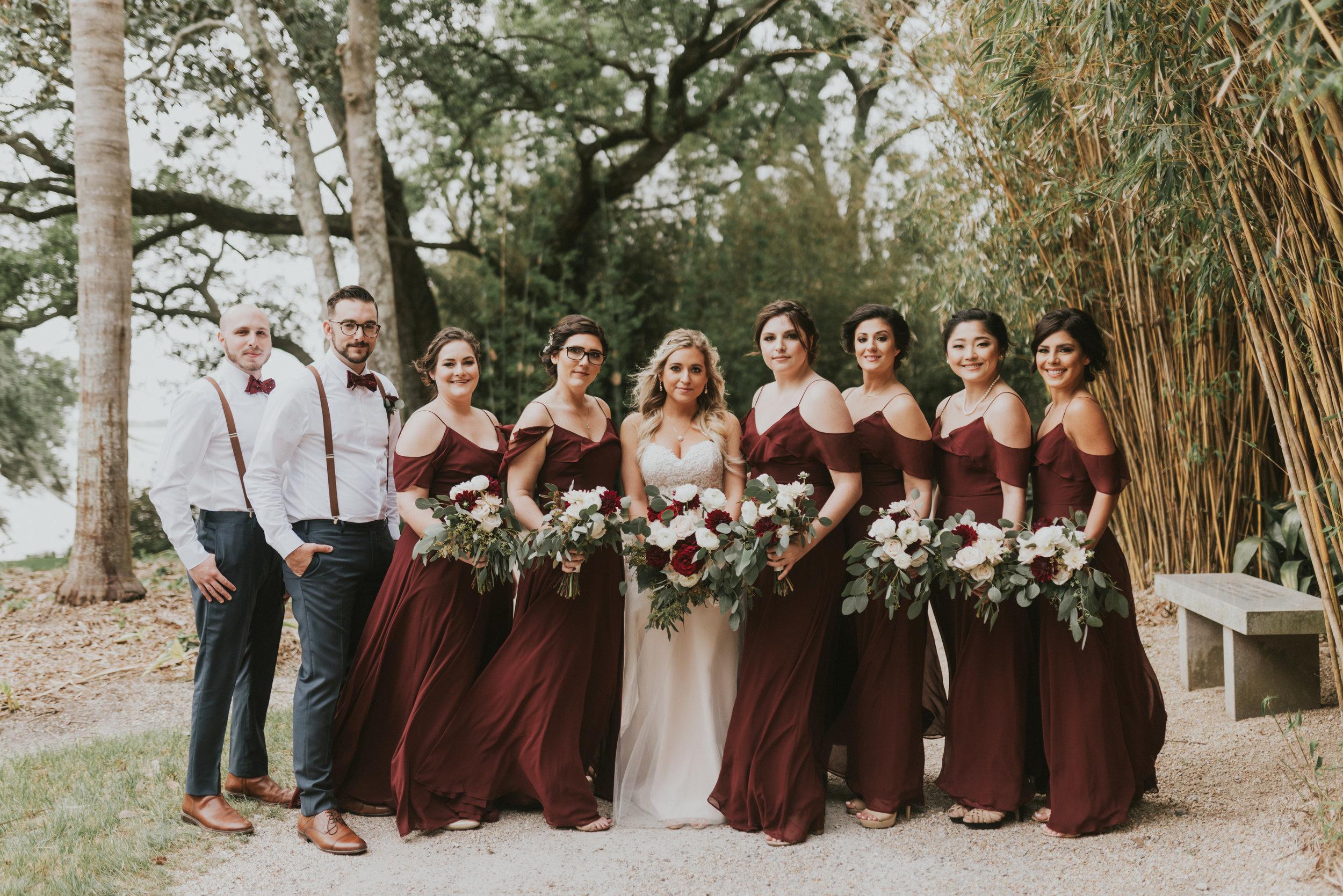 Southern Fete, Southern Wedding, Bridal Party, Maroon Bridesmaids dresses, Jen Menard Photo