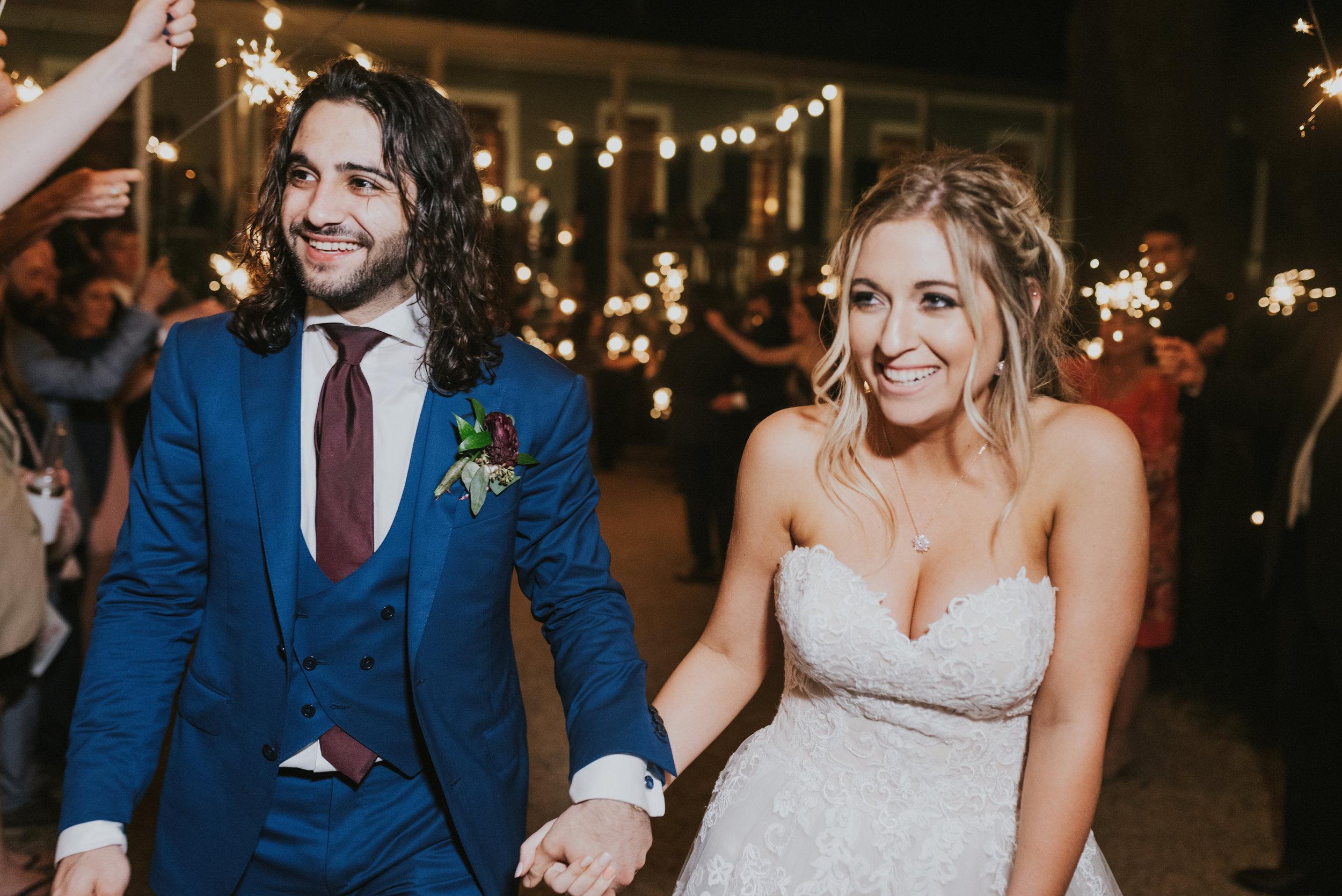 Southern Fete, Southern Wedding, Bride and Groom Sparkler Exit, Rip Van Winkle Gardens, Jen Menard Photo