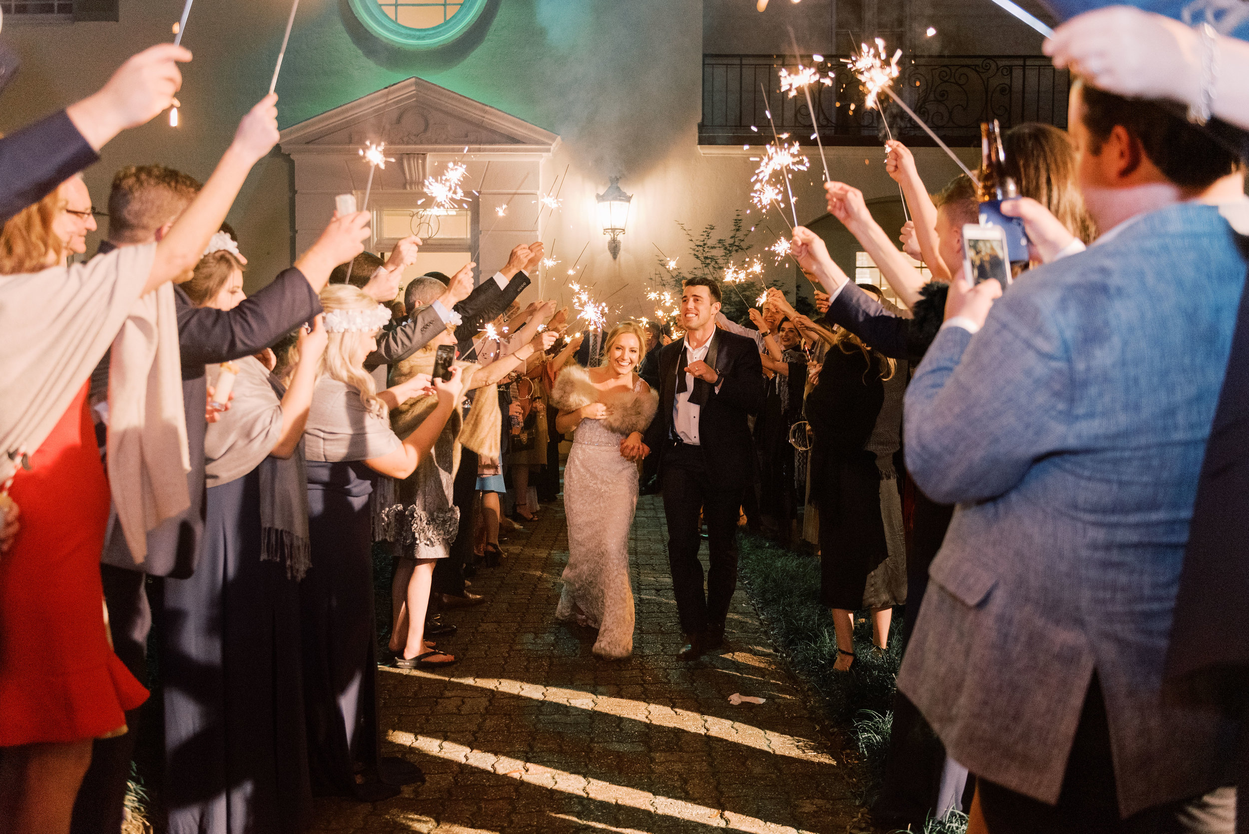 Southern Fete, Southern Wedding, Sparkler Exit, Bride and Groom, UL Alumni Center