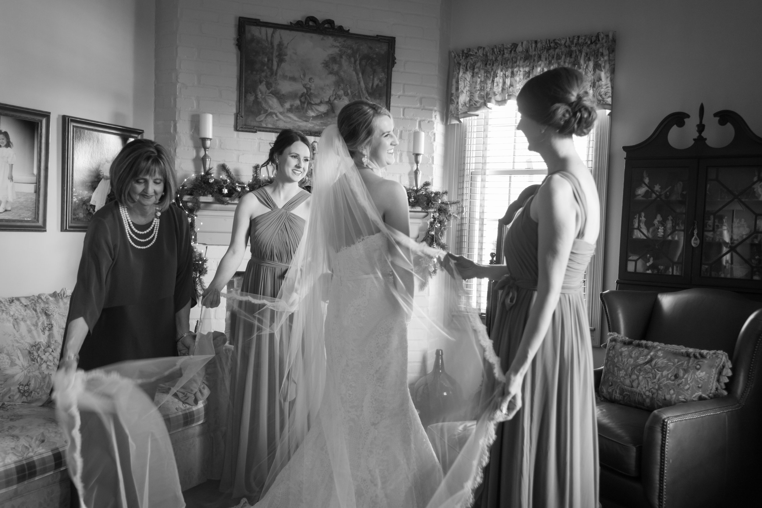 Southern Fete, Southern Wedding, Bride in her Wedding dress, Bridesmaid and Mother of the Bride, Jay Faugot Photography