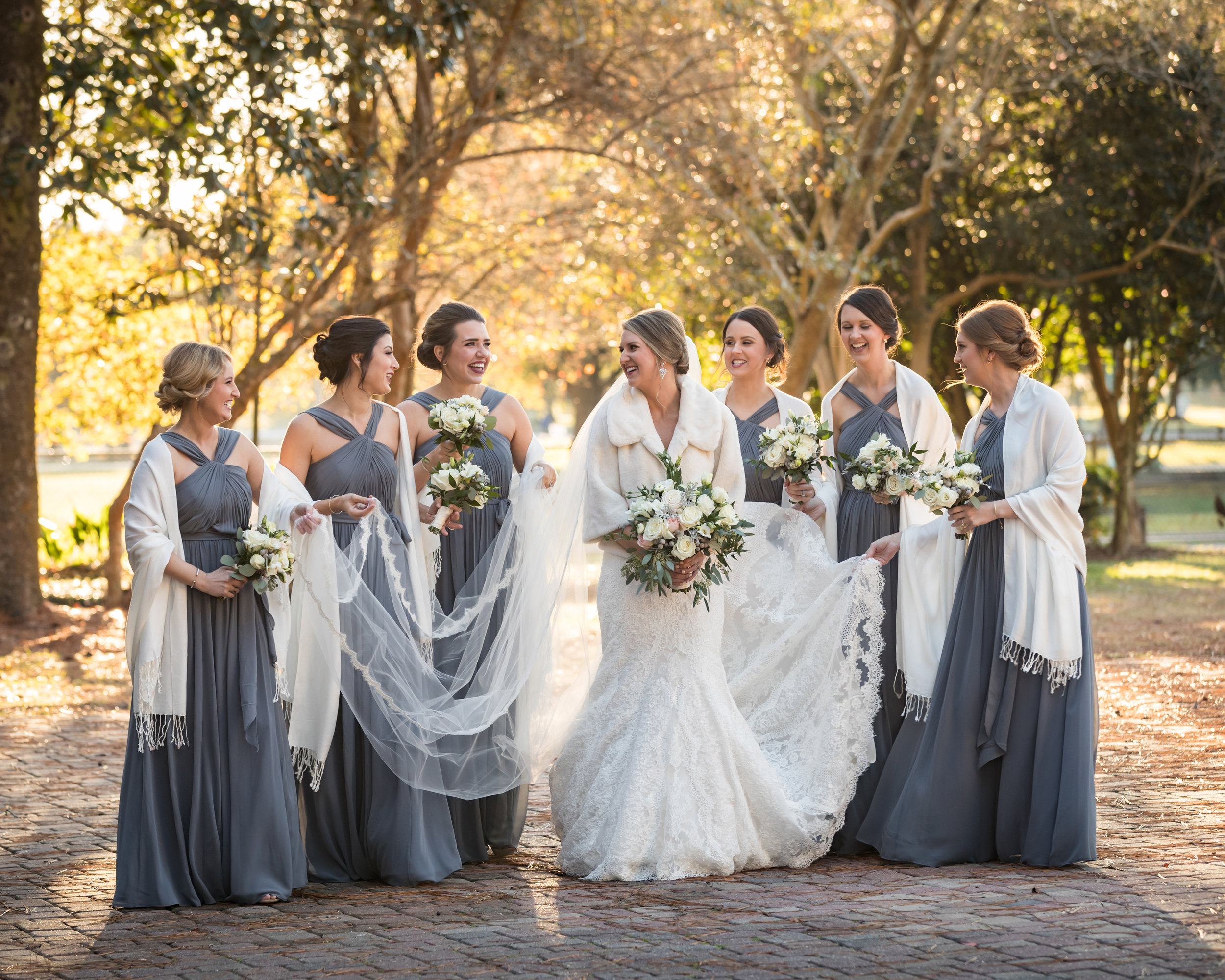 Southern Fete, Southern Wedding, Bride and Bridesmaids Action Shot, Lowry's, The Gardenaire, Jay Faugot Photography, Bleu Hair and Makeup Studio