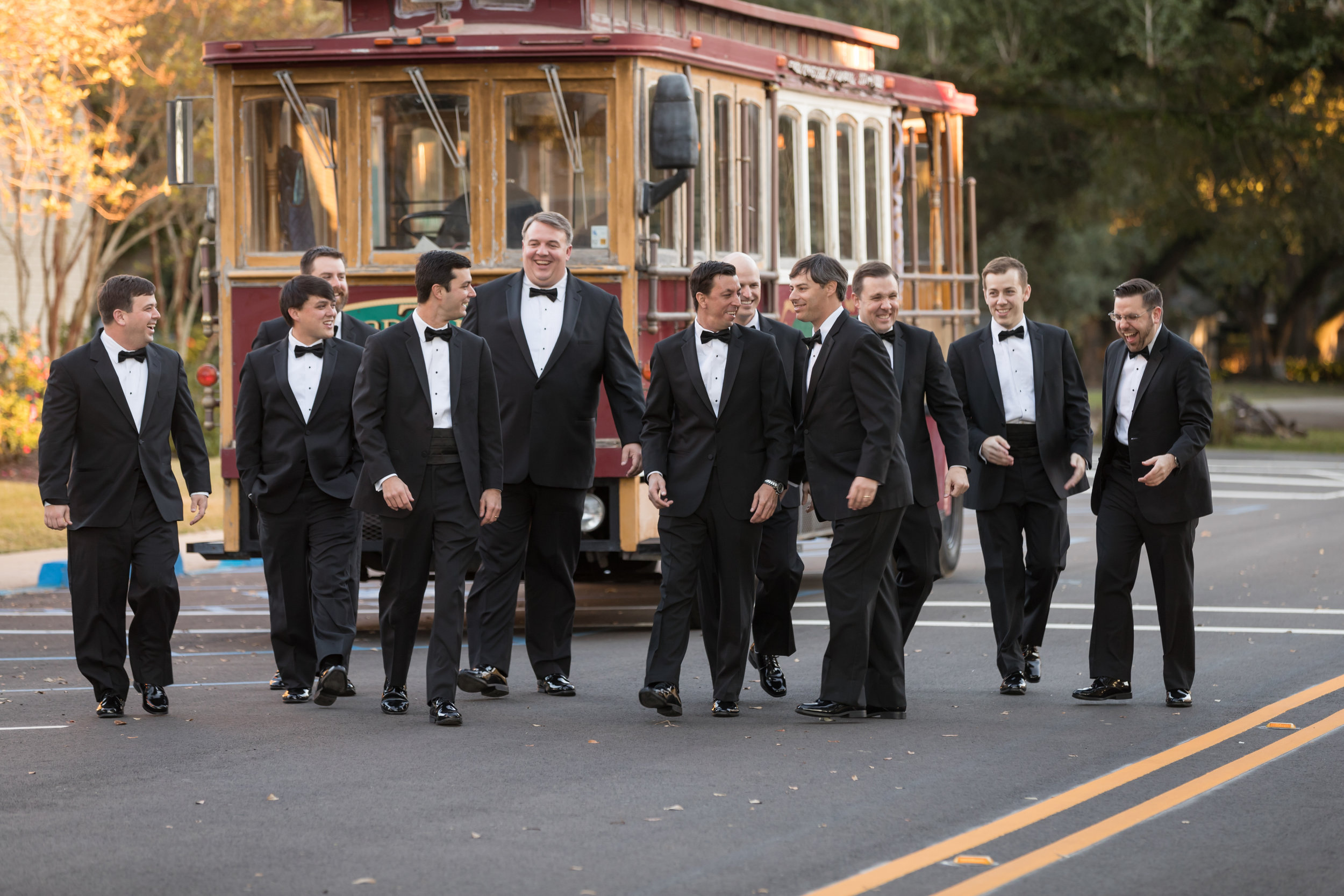 Southern Fete, Southern Wedding, Groom and Groomsman, Red Trolley, Jay Faugot Photography