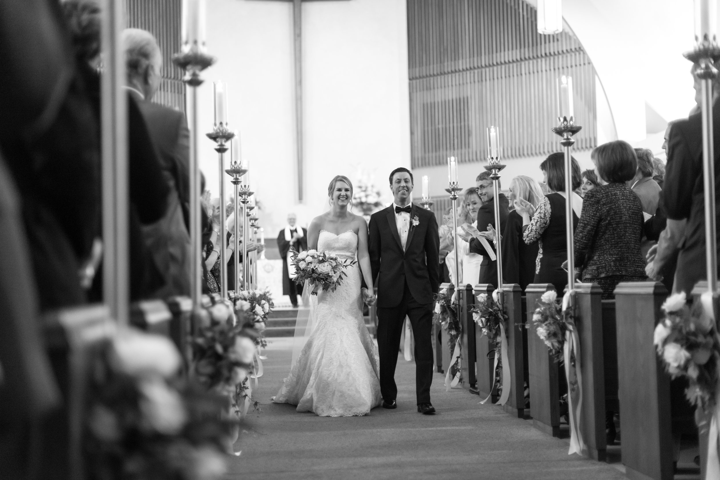 Southern Fete, Southern Wedding, Asbury Methodist Church, Lowry's, The Gardenaire, Bride and Groom Walking down aisle