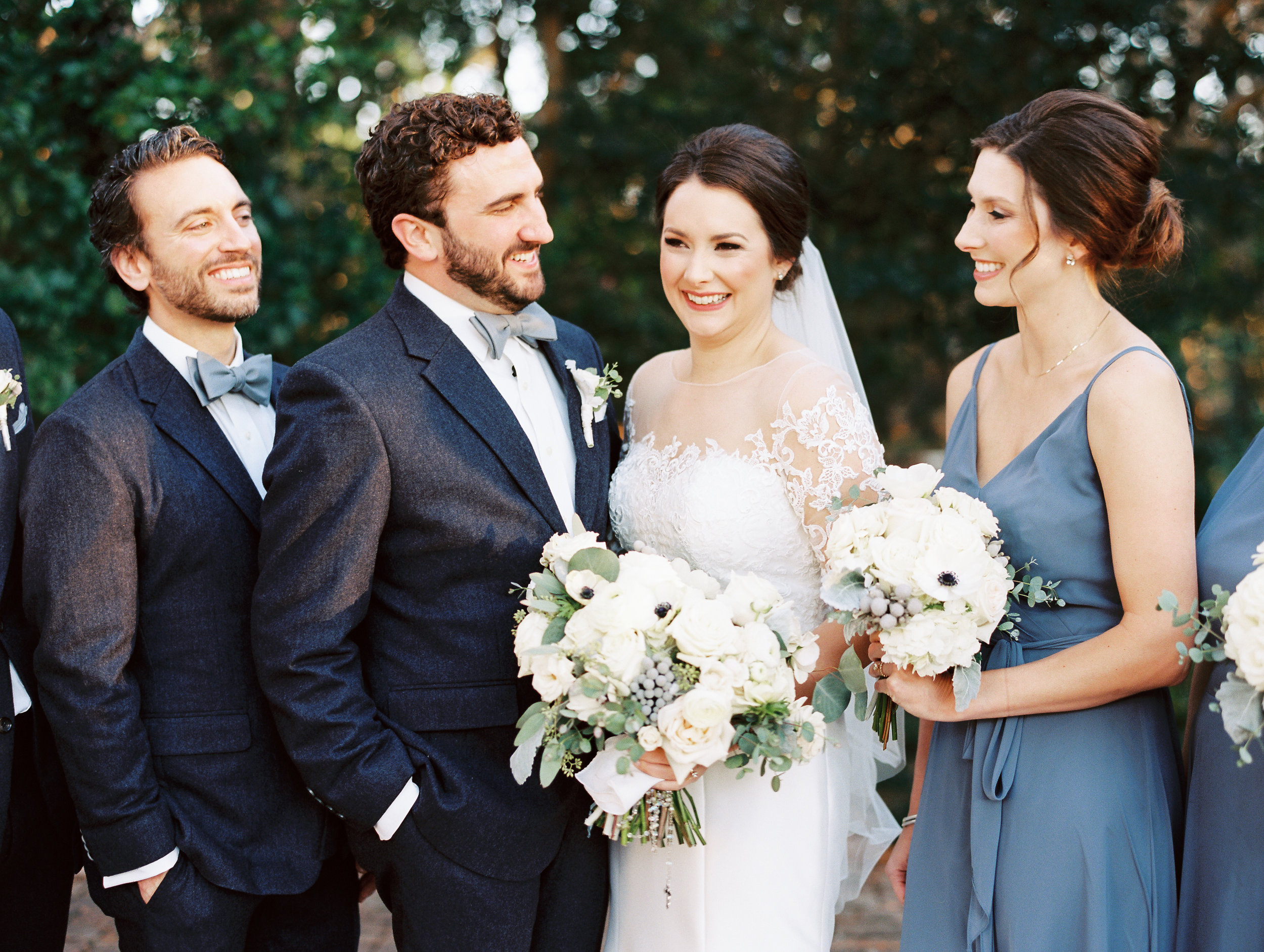 Southern Fete, Southern Wedding, Bride and Groom with Maid of Honor and Best Man, Sarah Beth Photography, Petals and Pots