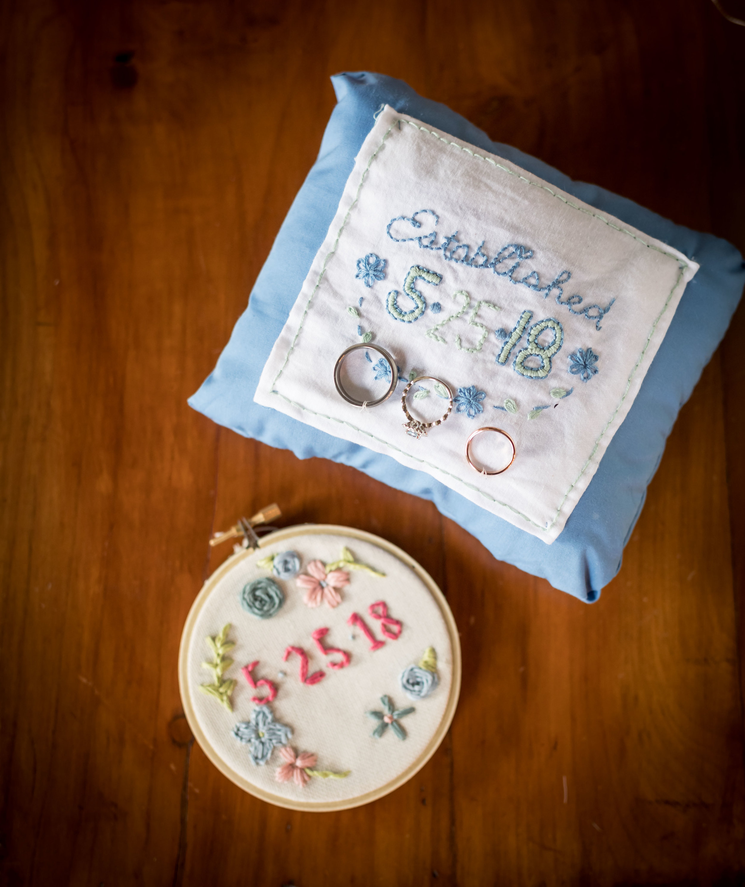 Southern Fete, Southern Wedding, Wedding rings, Embroidered Pillow