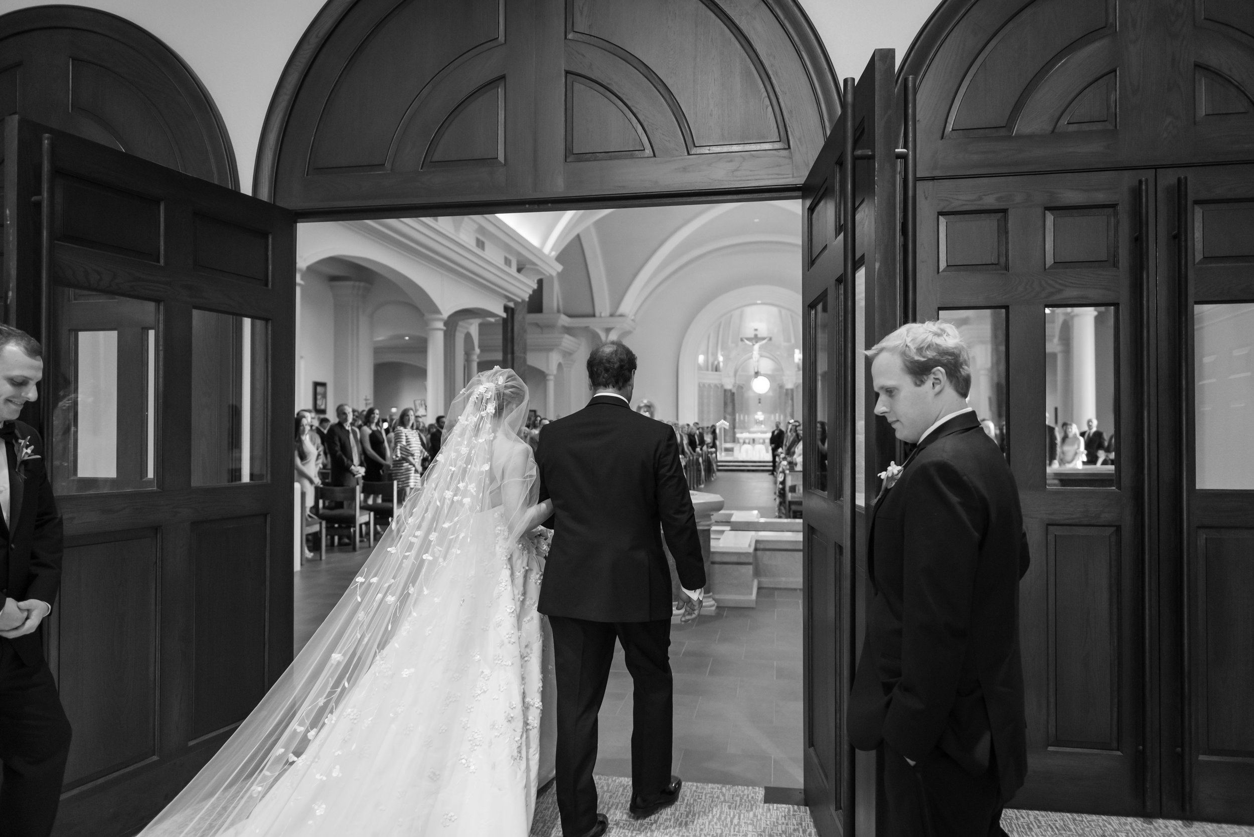 Southern Fete, Southern Wedding, St. Pius Catholic Church, Ceremony, Bride and her Father Walking, Jay Faugot Photography