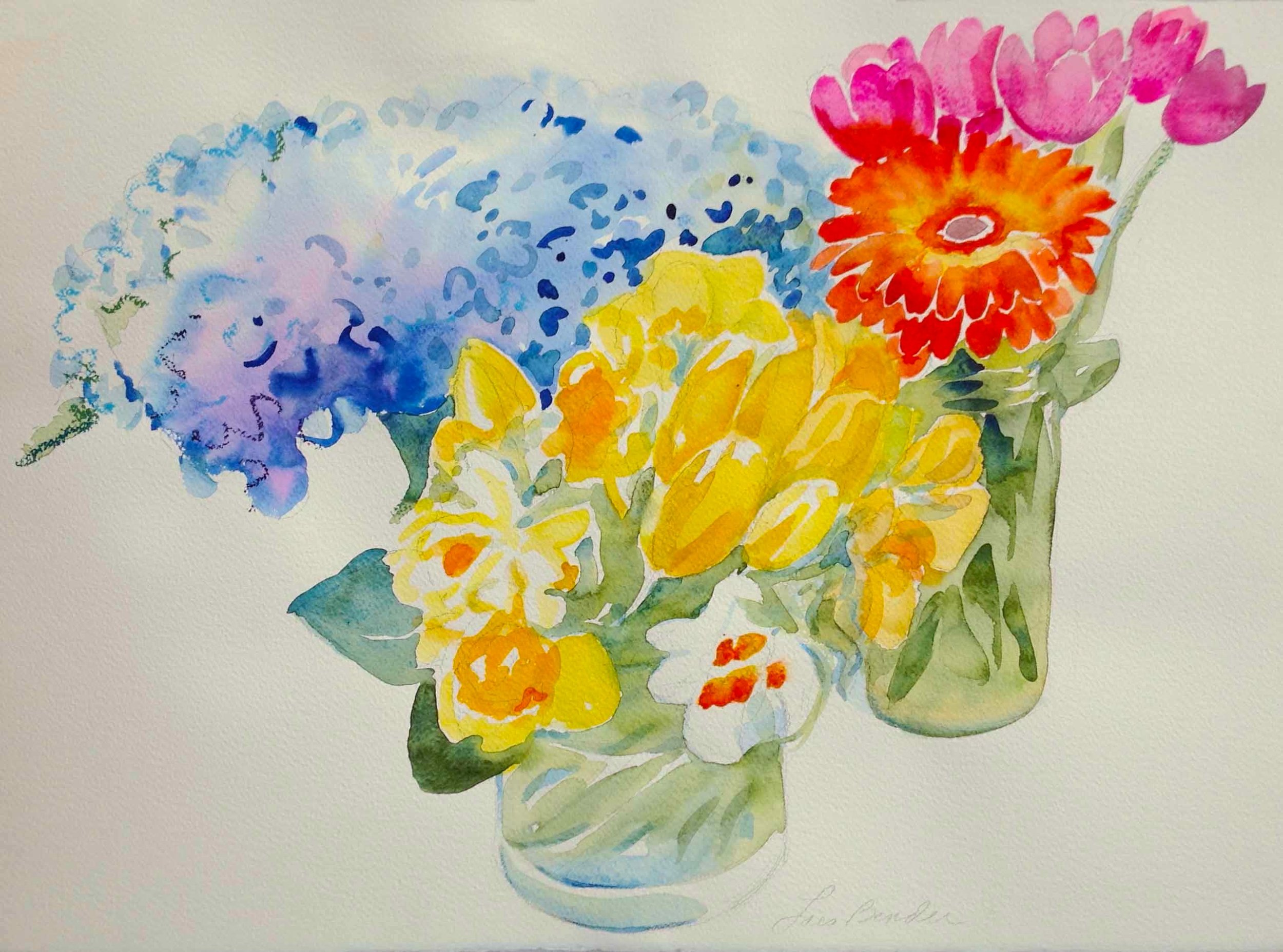 """Daffodils, Gerbers, Tulips and Hydrangeas"""
